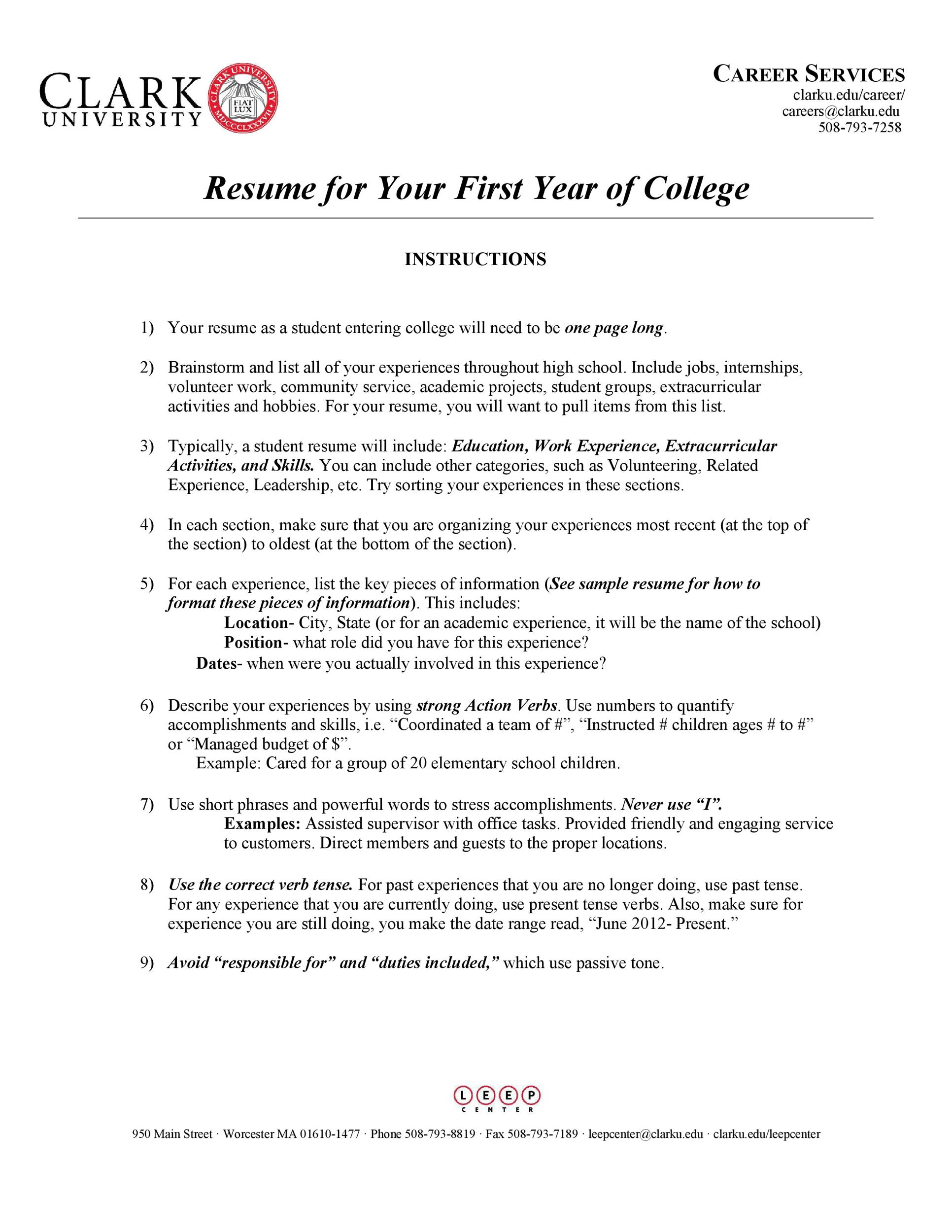 Free college resume template 02