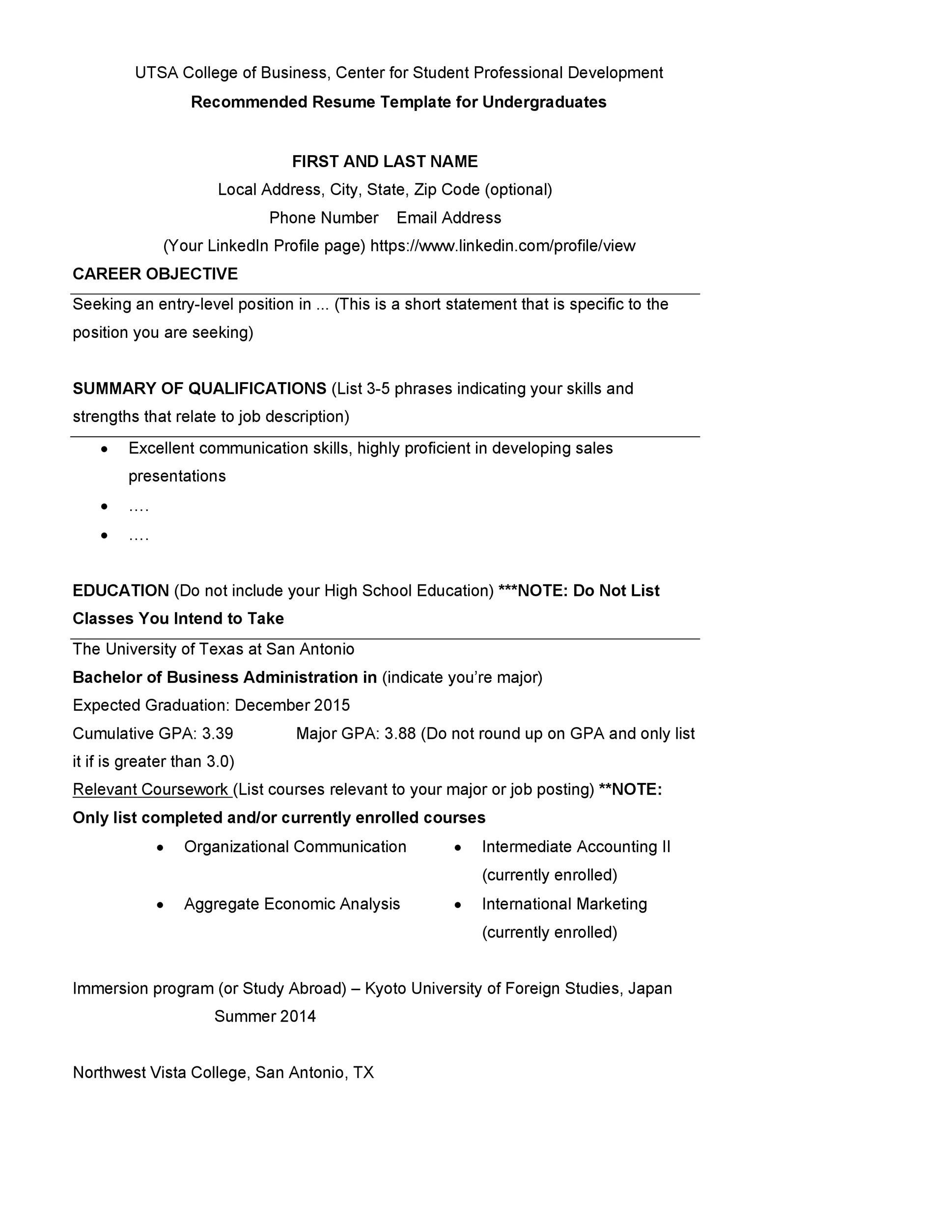Free college resume template 10