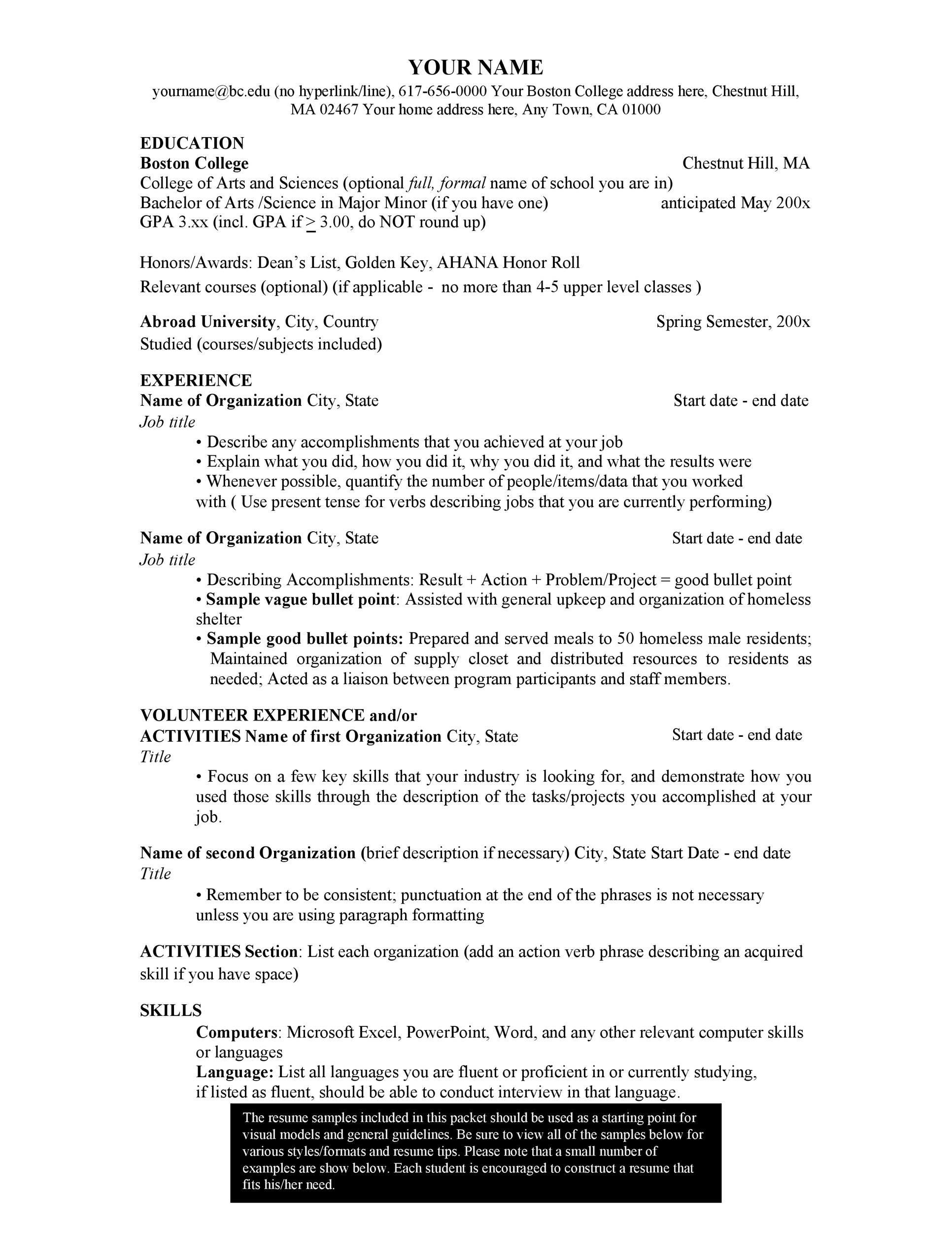 Free college resume template 17