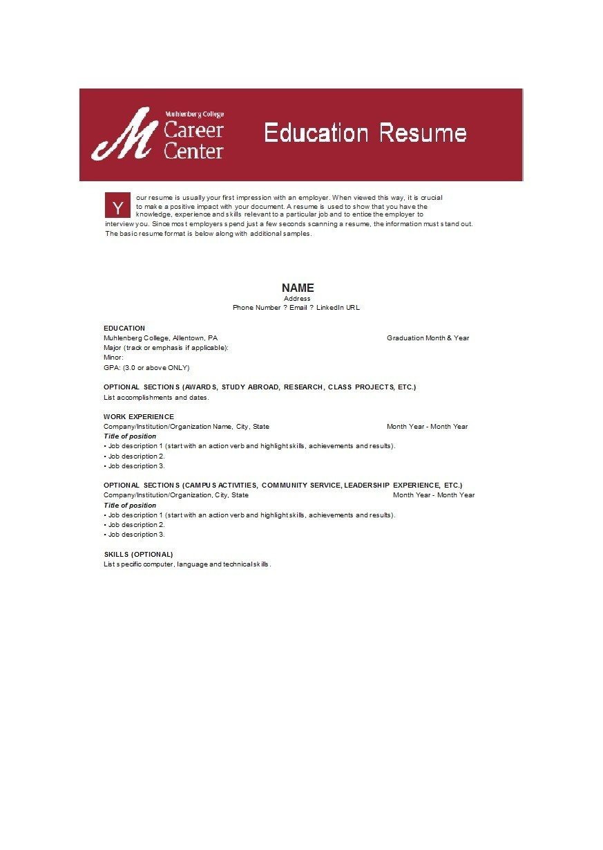 Free college resume template 19