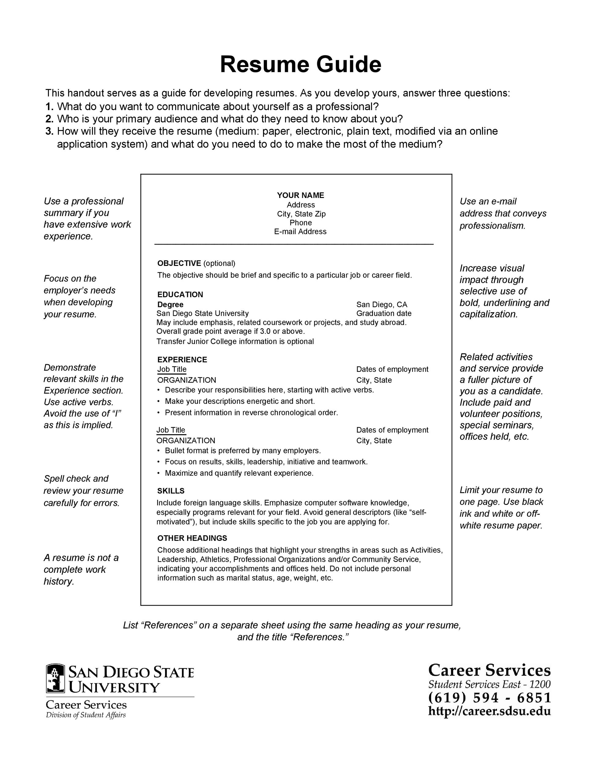 Free college resume template 27