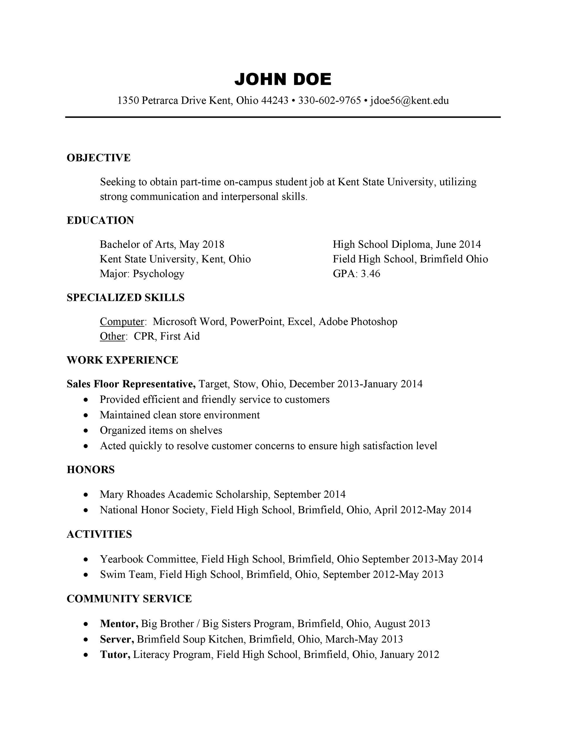 Free college resume template 31