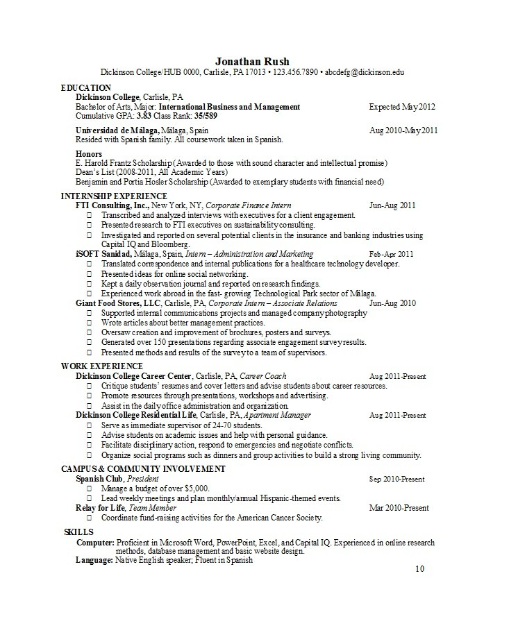 Free college resume template 40