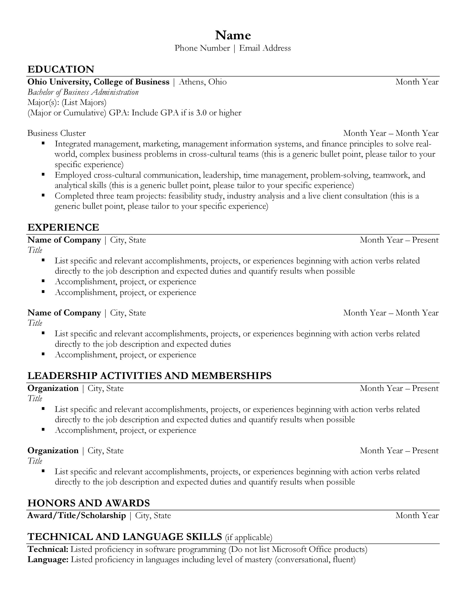 Free college resume template 42
