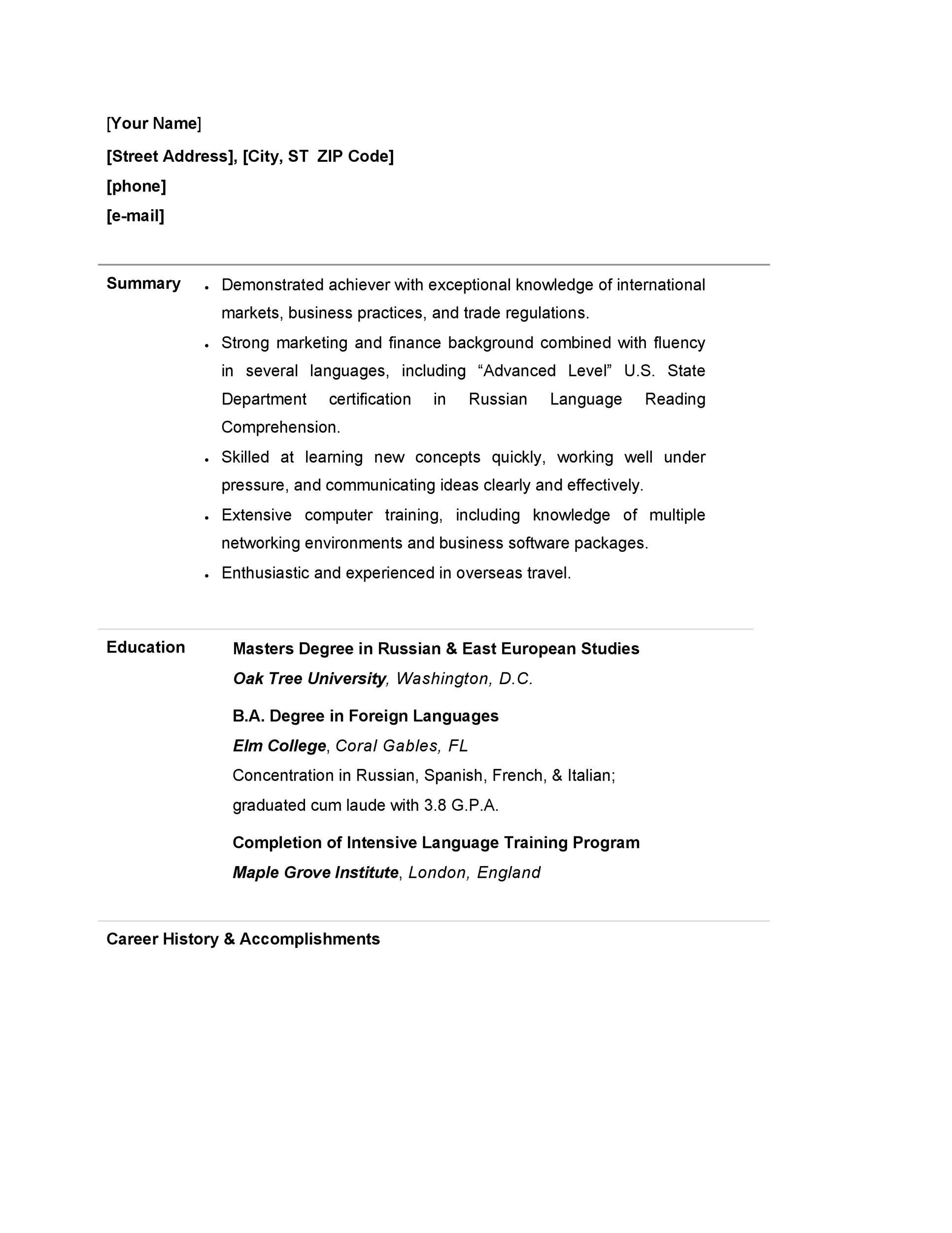 Free college resume template 44