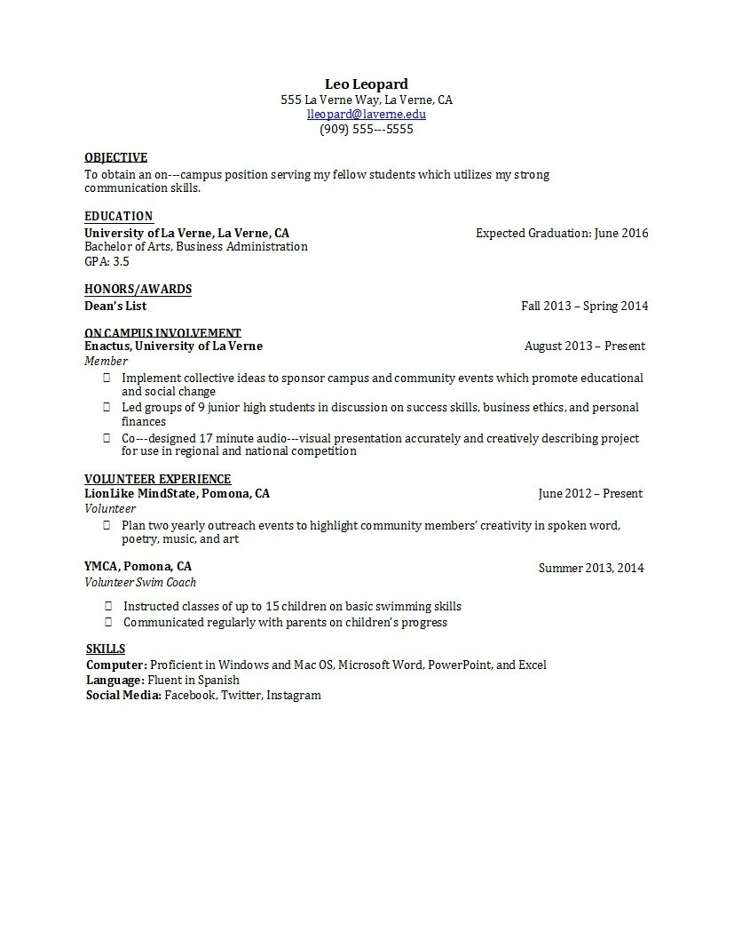 Free college resume template 46