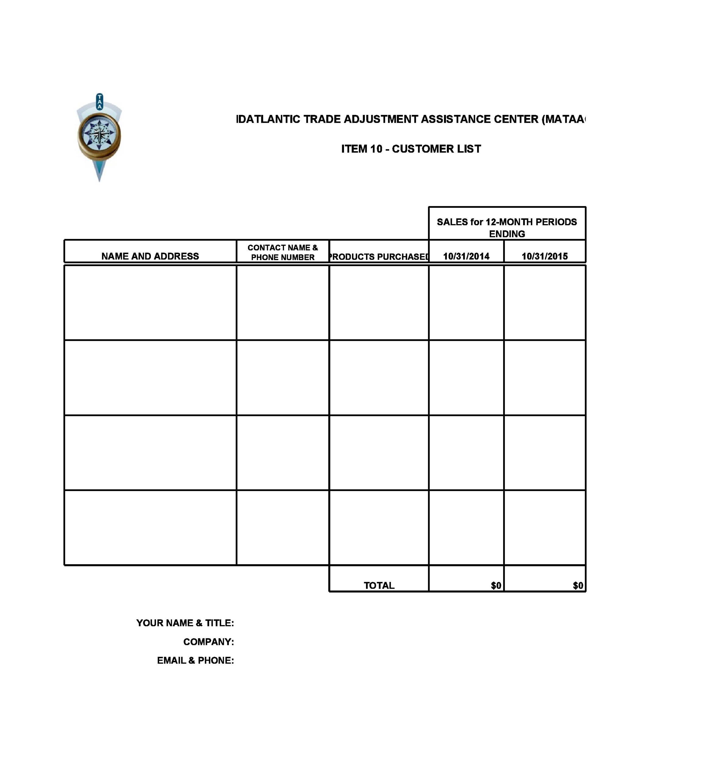 Free customer list template 03