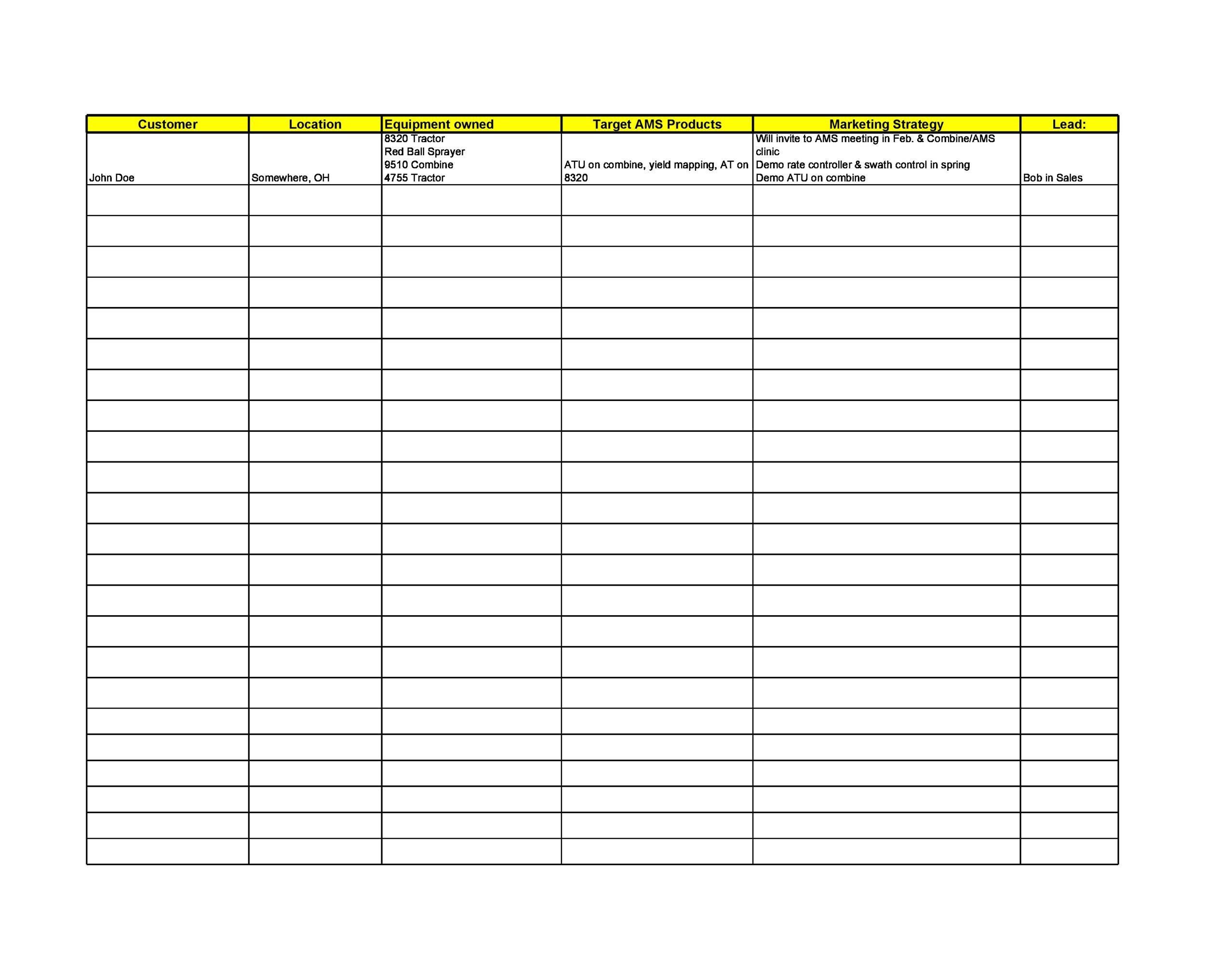 Free customer list template 04