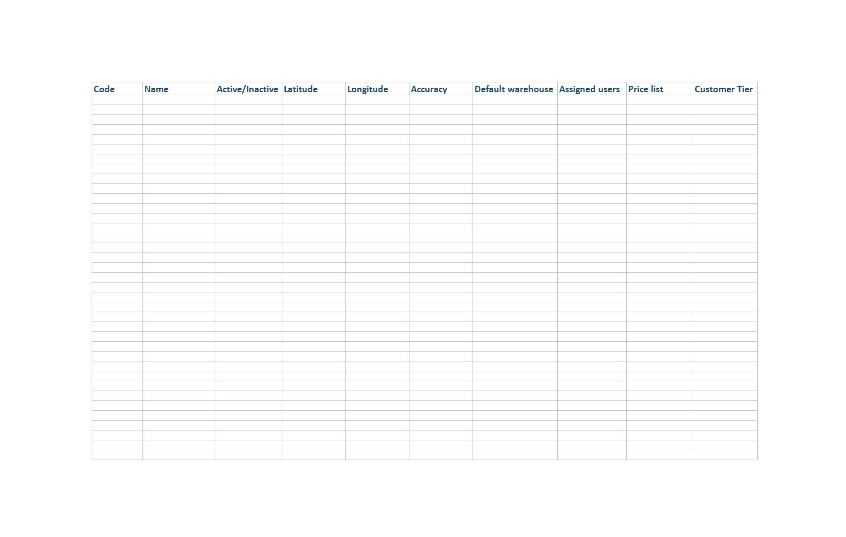 Free customer list template 06