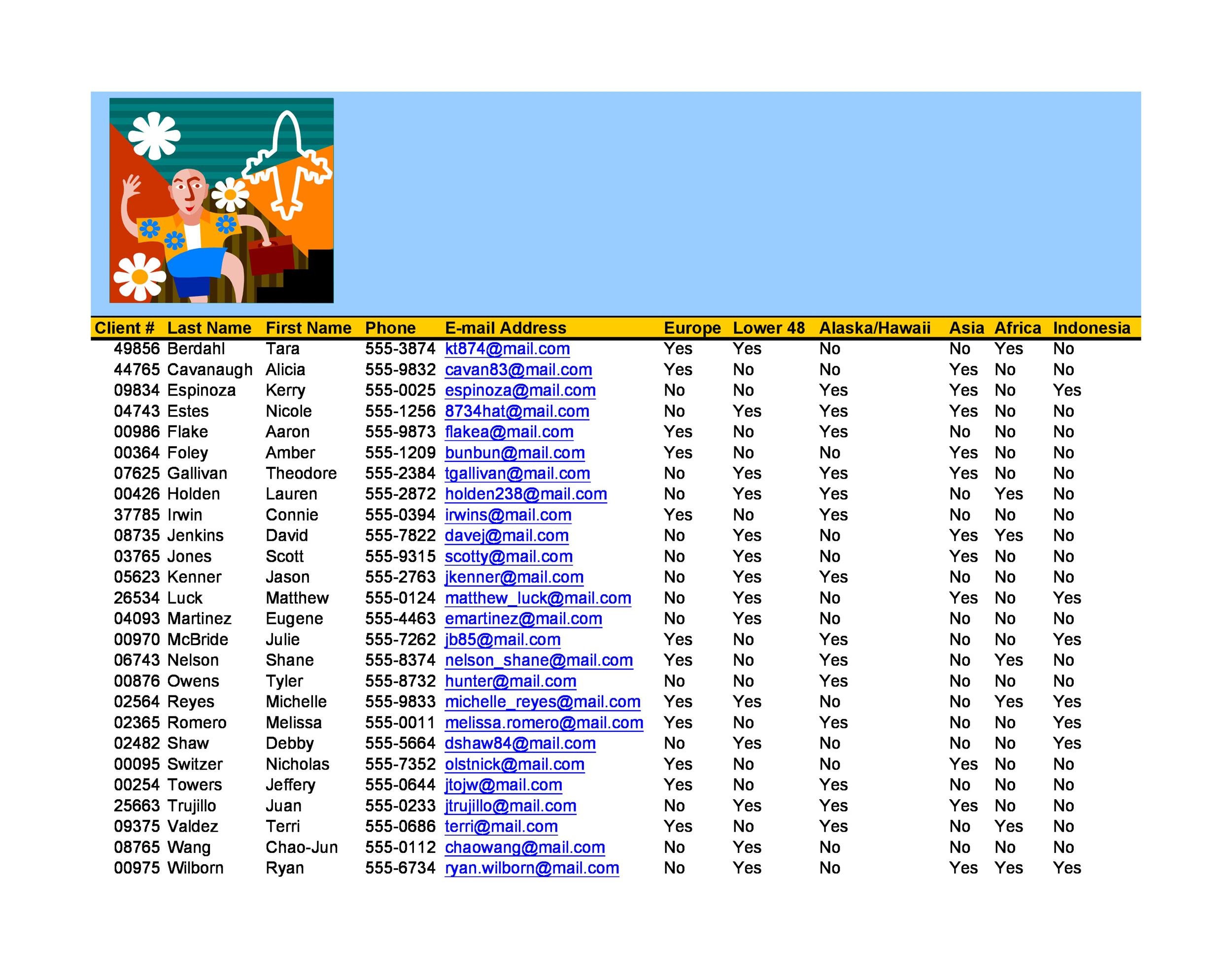 Free customer list template 34