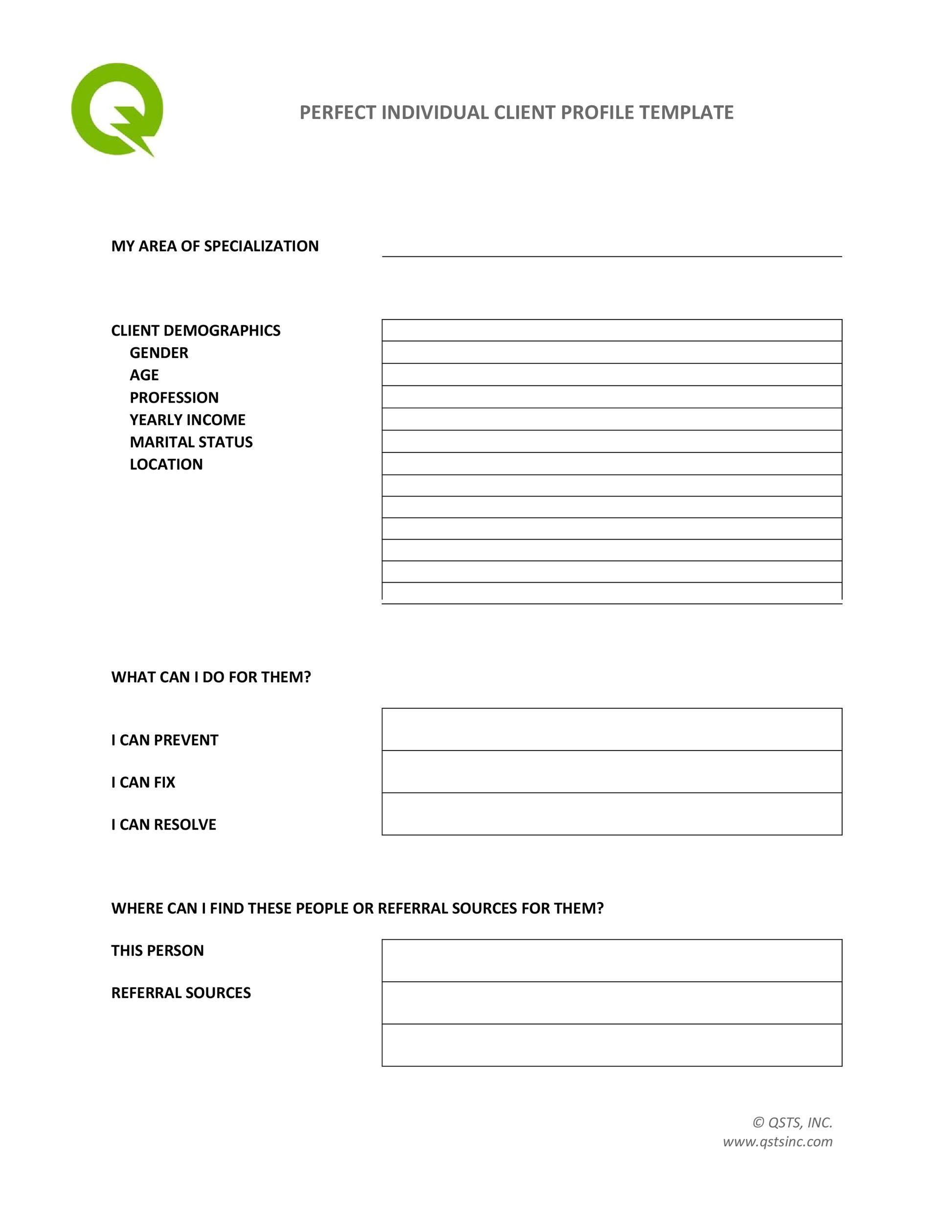 Free customer profile template 10