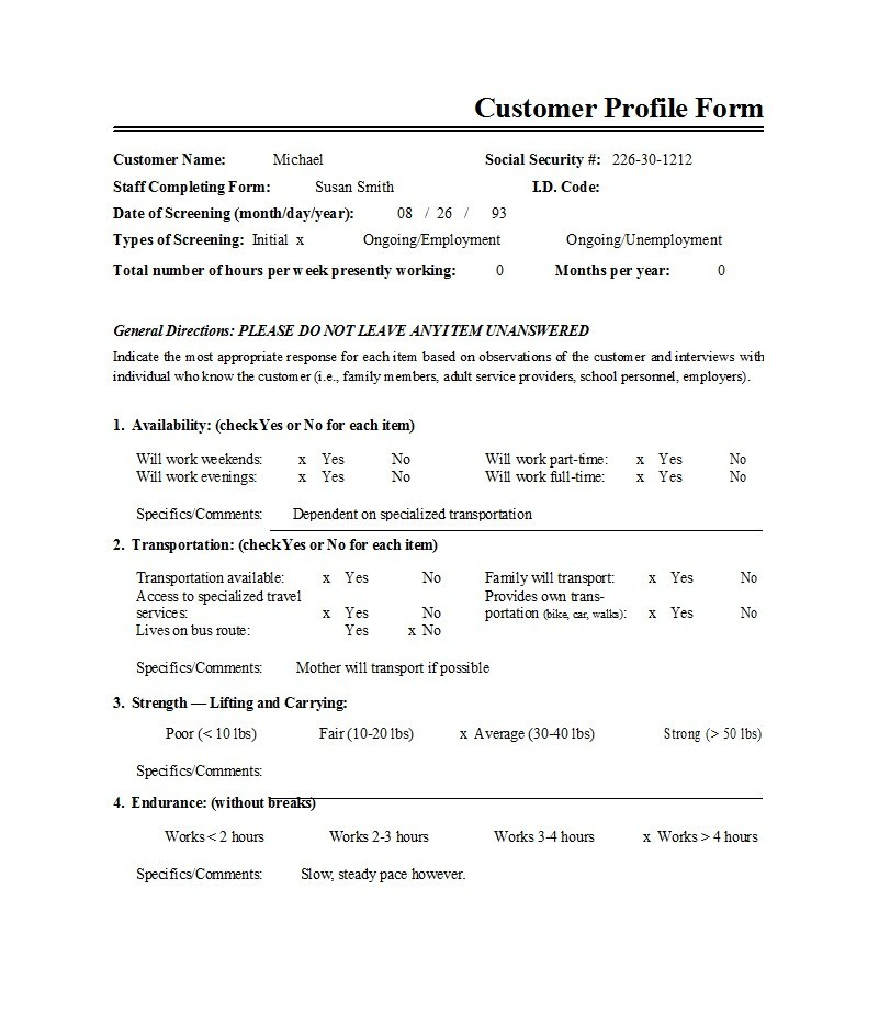 Free customer profile template 13