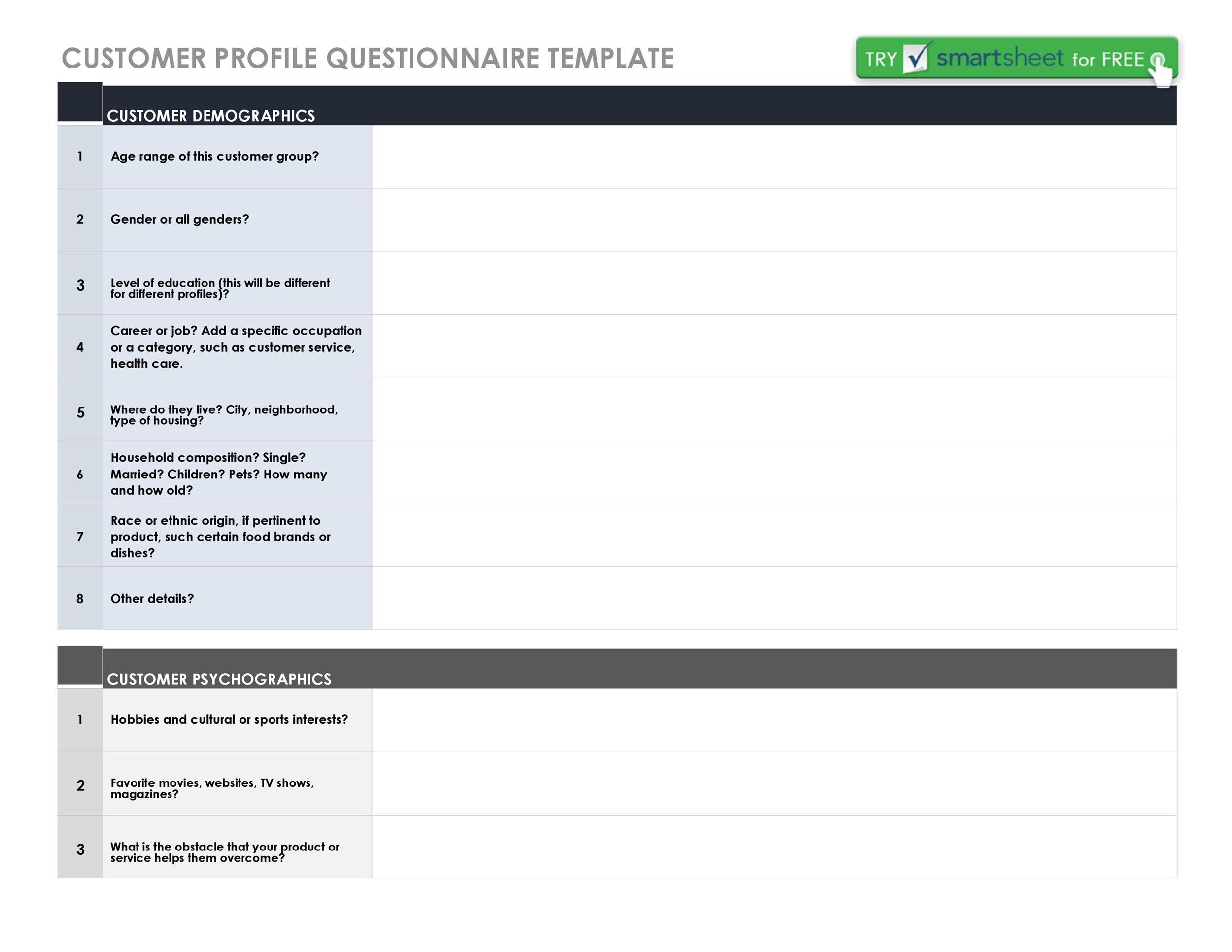 Free customer profile template 14