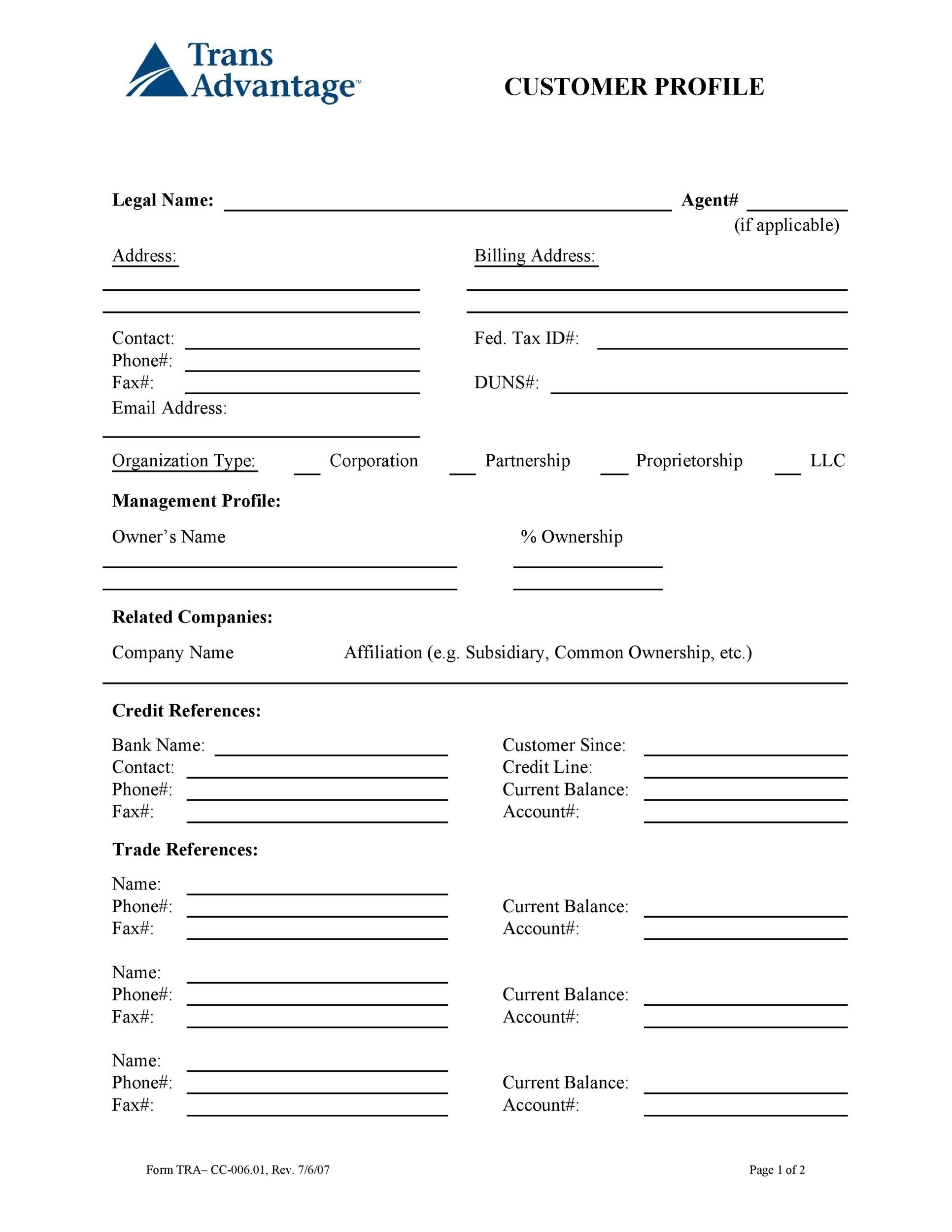 Free customer profile template 18