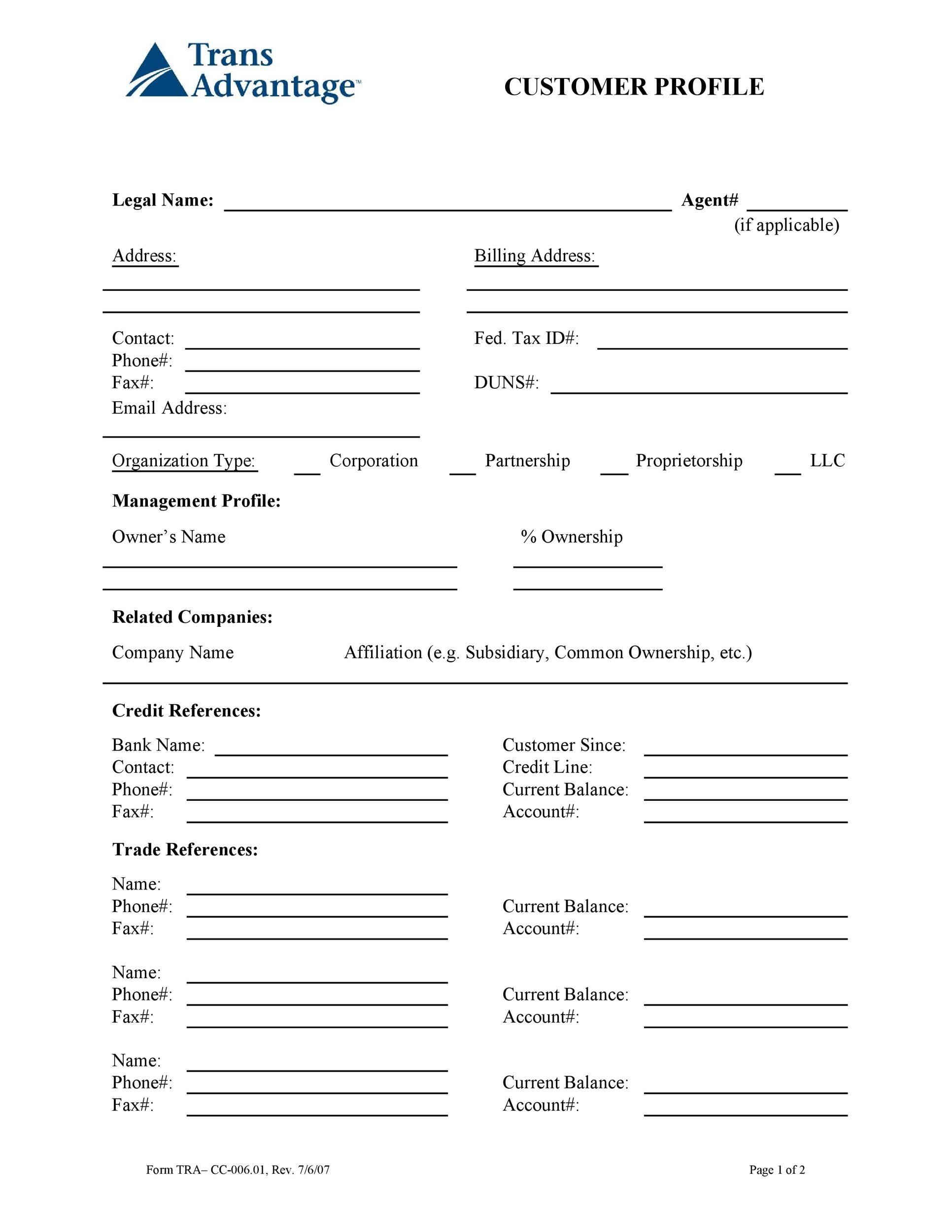 Free customer profile template 18