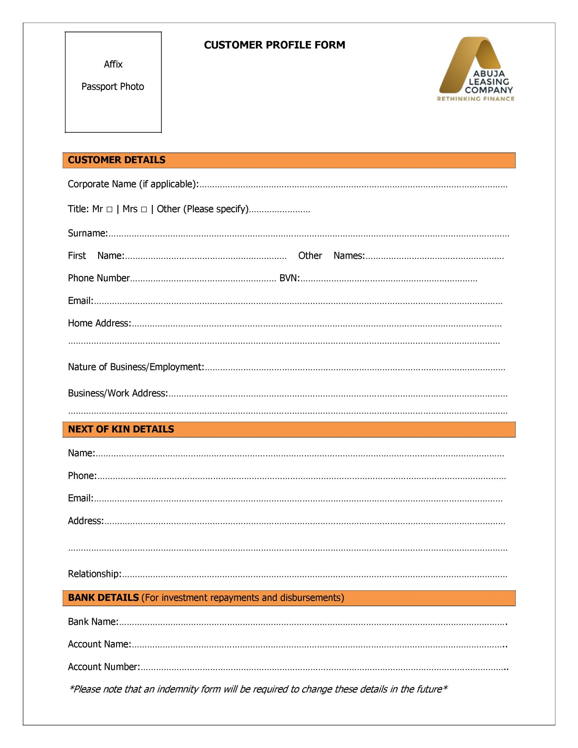 Free customer profile template 47