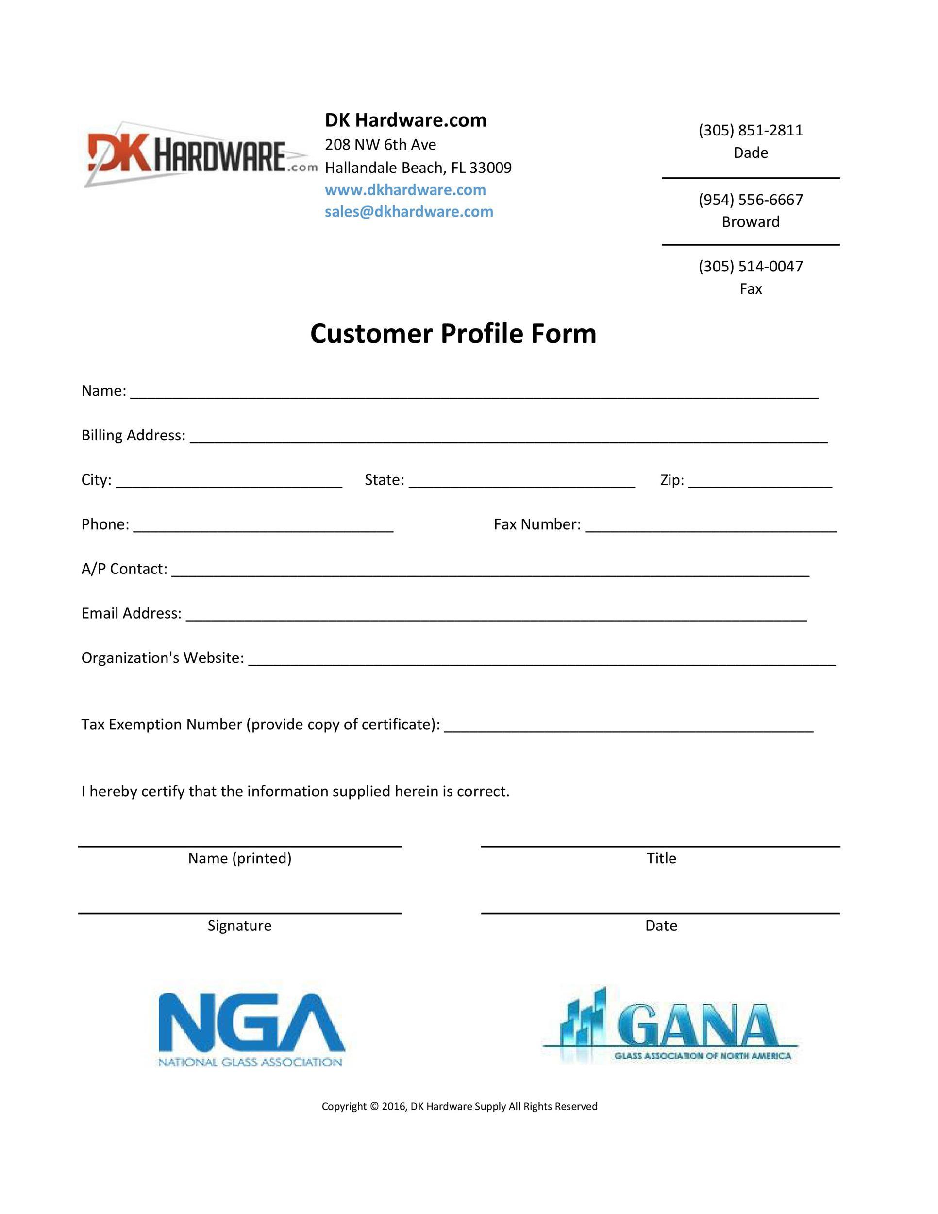 Free customer profile template 48