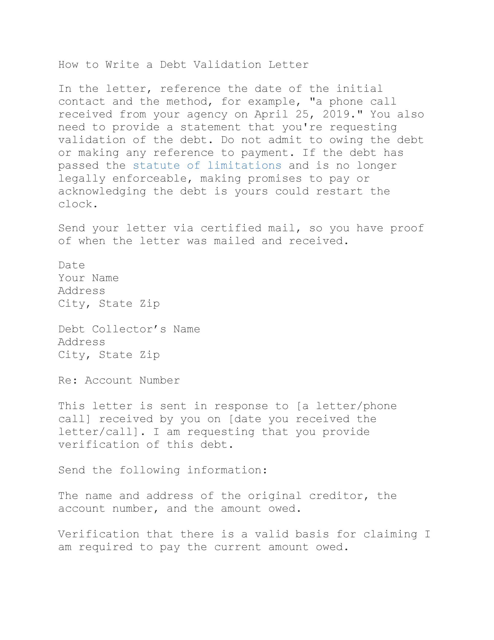 Free debt validation letter 01