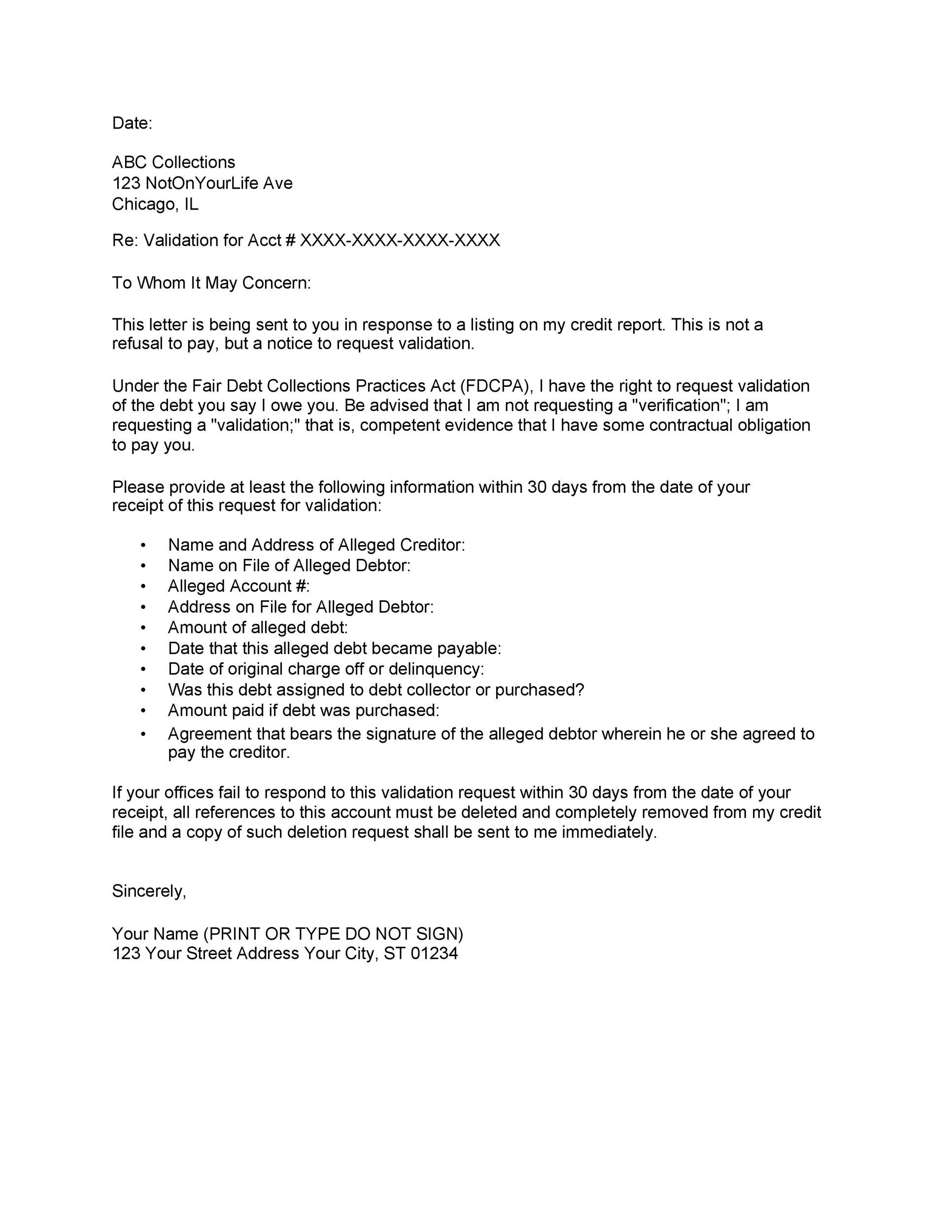 Free debt validation letter 02