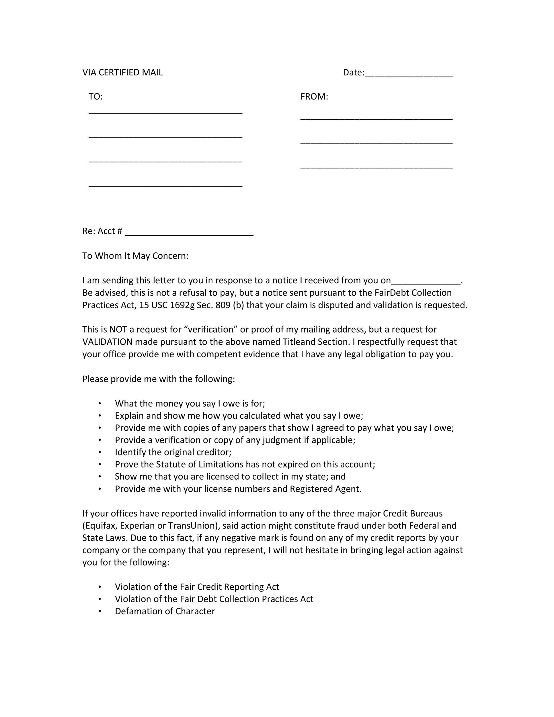 Free debt validation letter 04