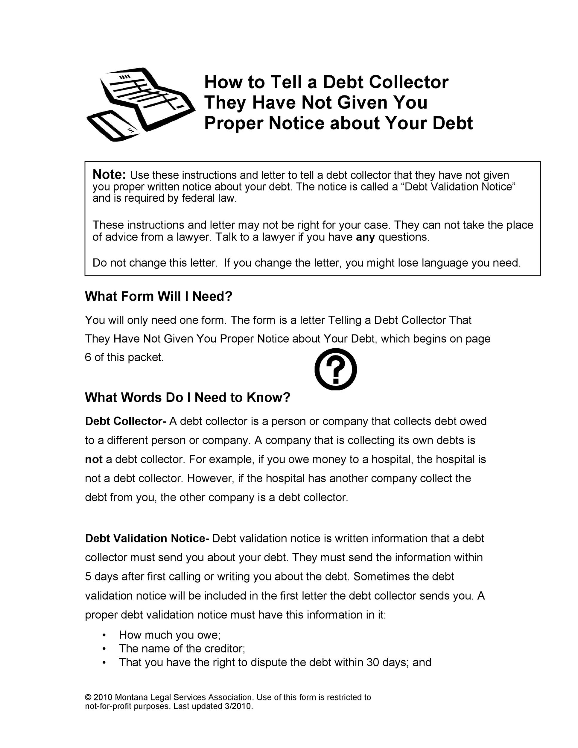 Free debt validation letter 07