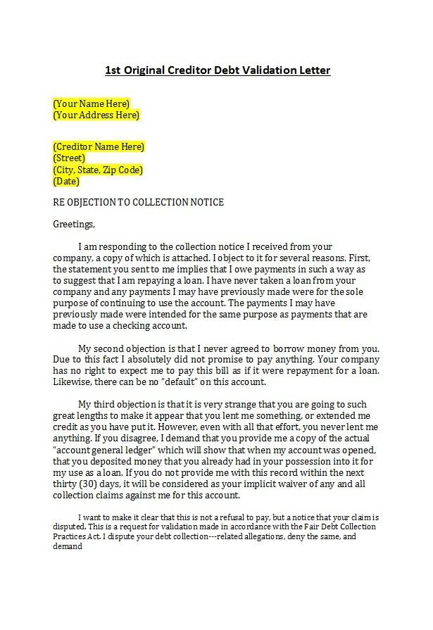 Free debt validation letter 08