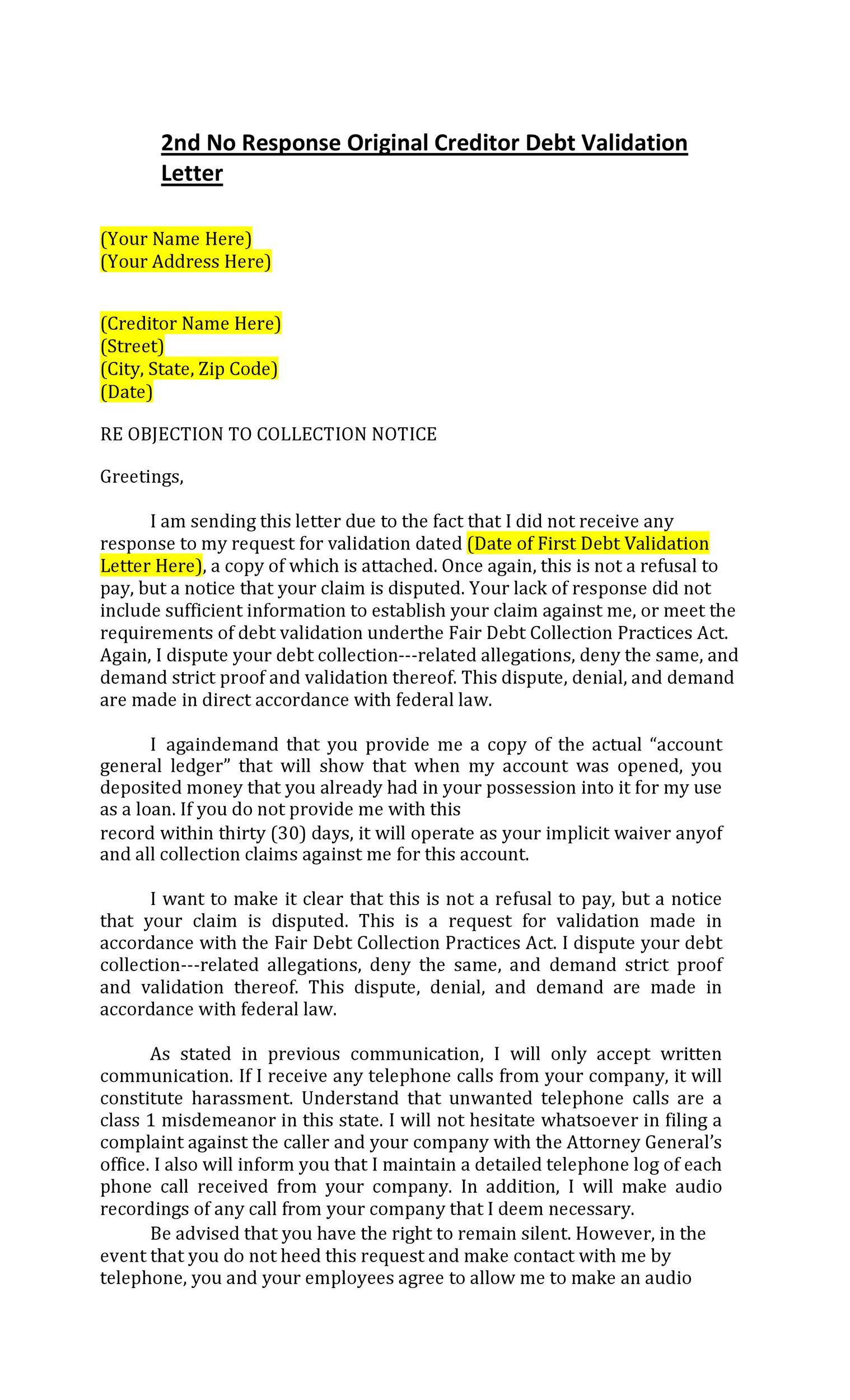 Free debt validation letter 09
