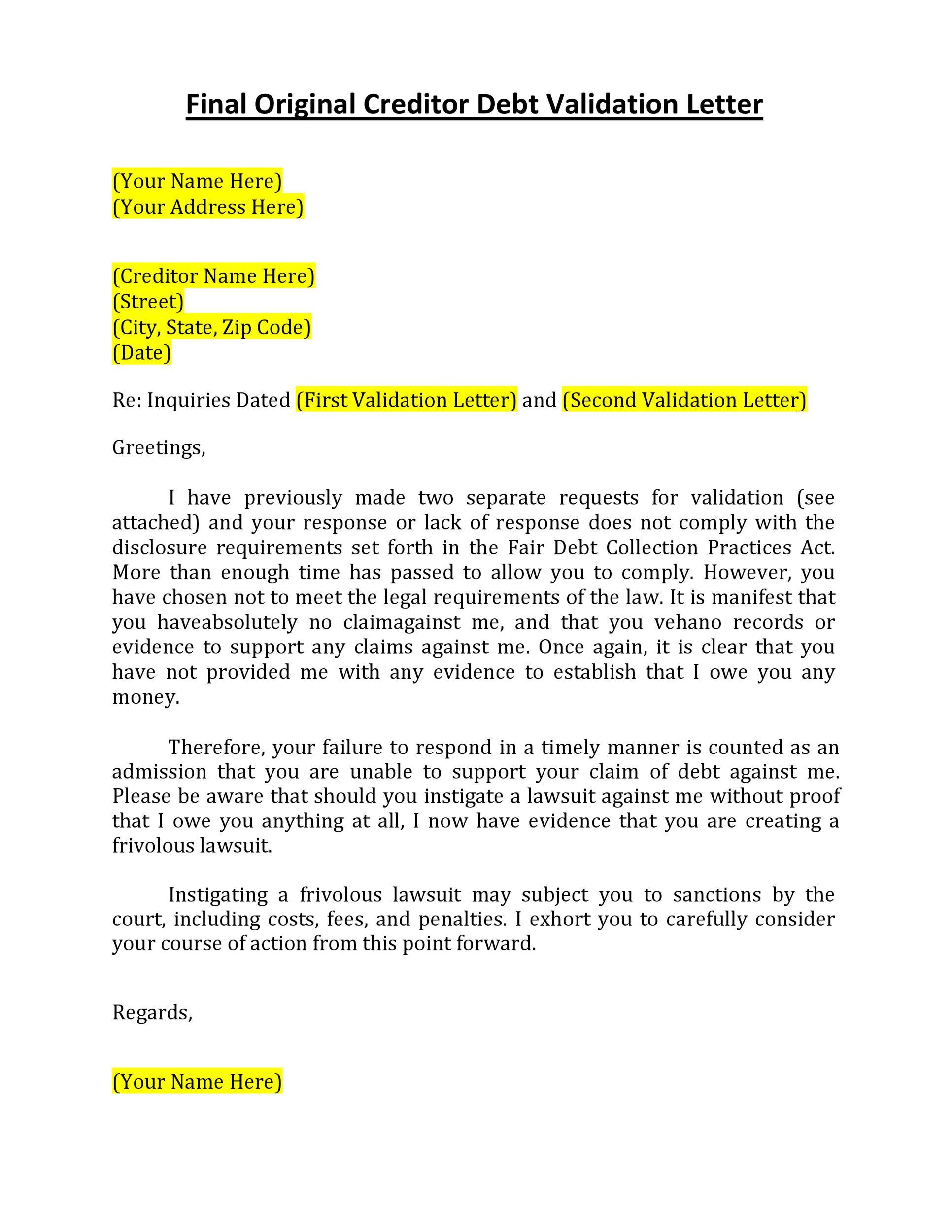 Free debt validation letter 11