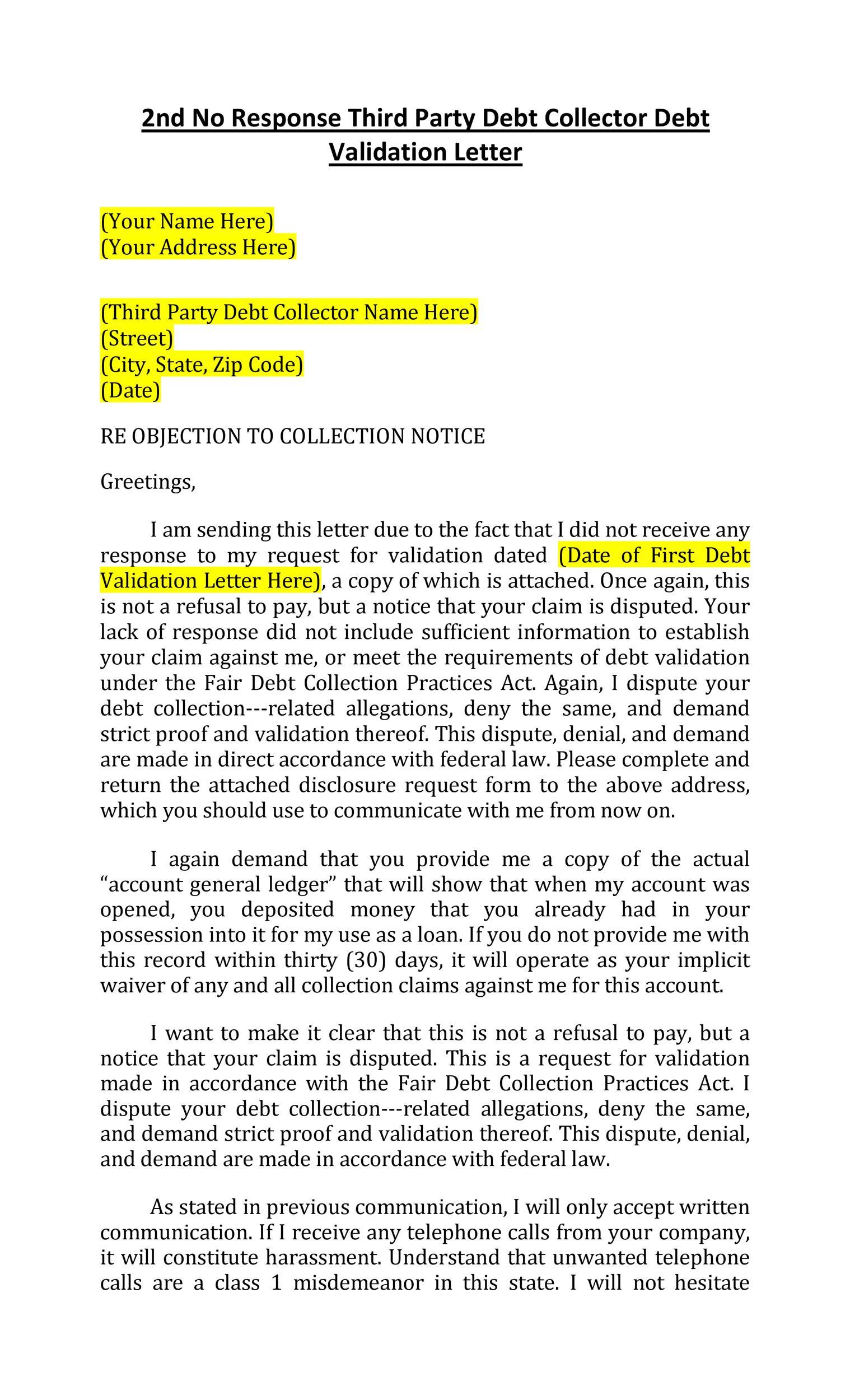 Free debt validation letter 13
