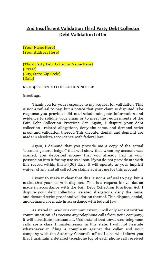 Free debt validation letter 14