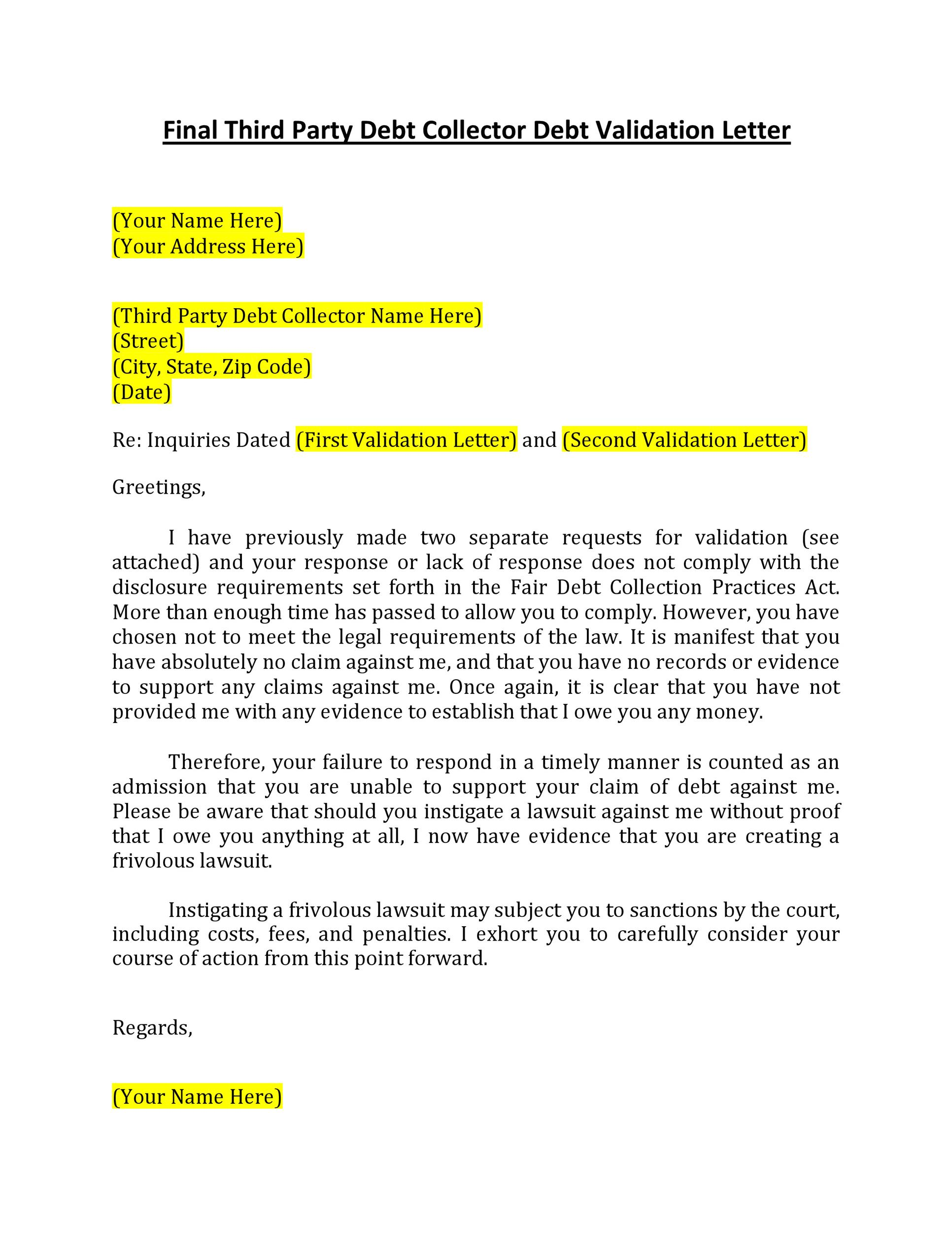Free debt validation letter 15