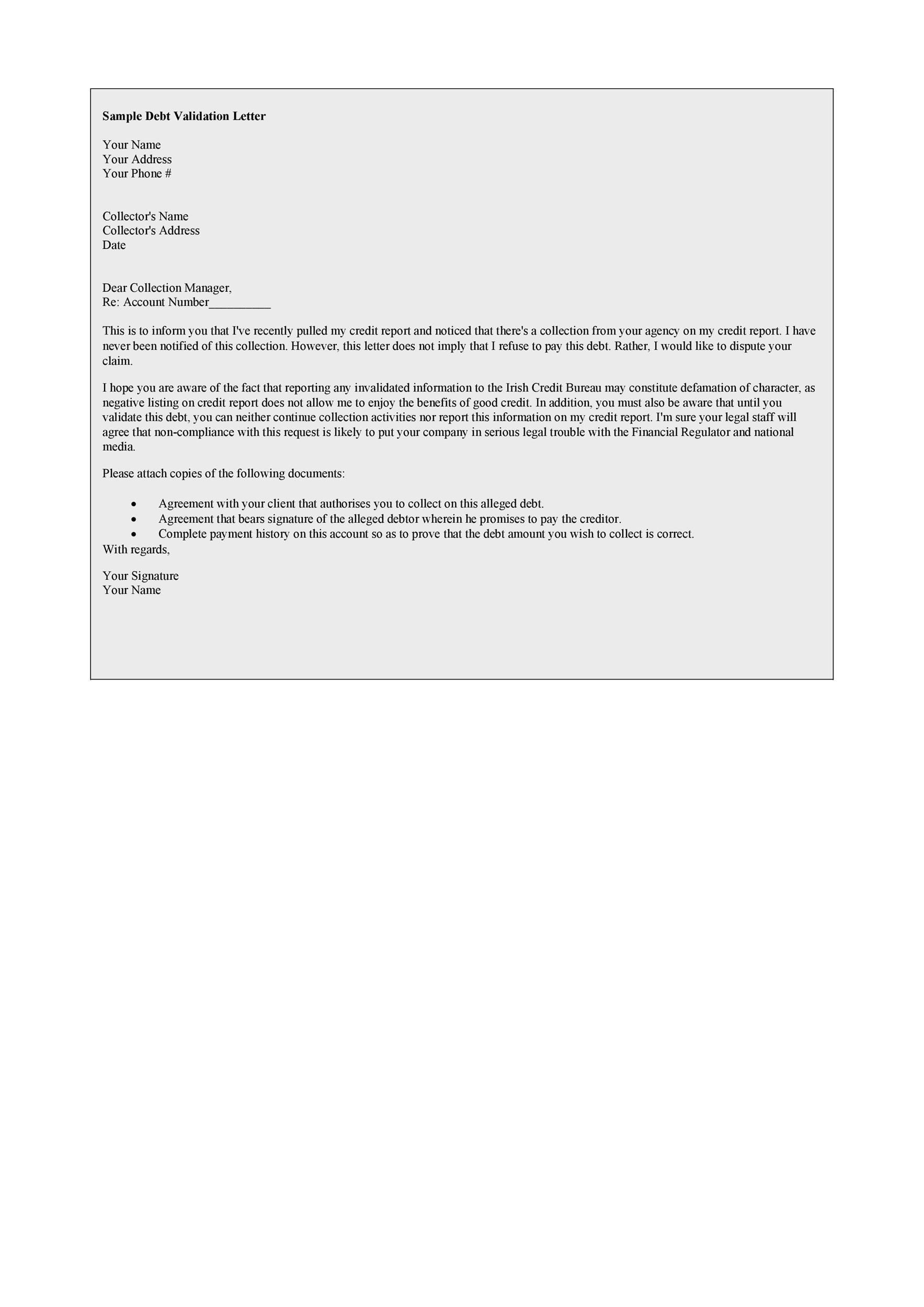 Free debt validation letter 16