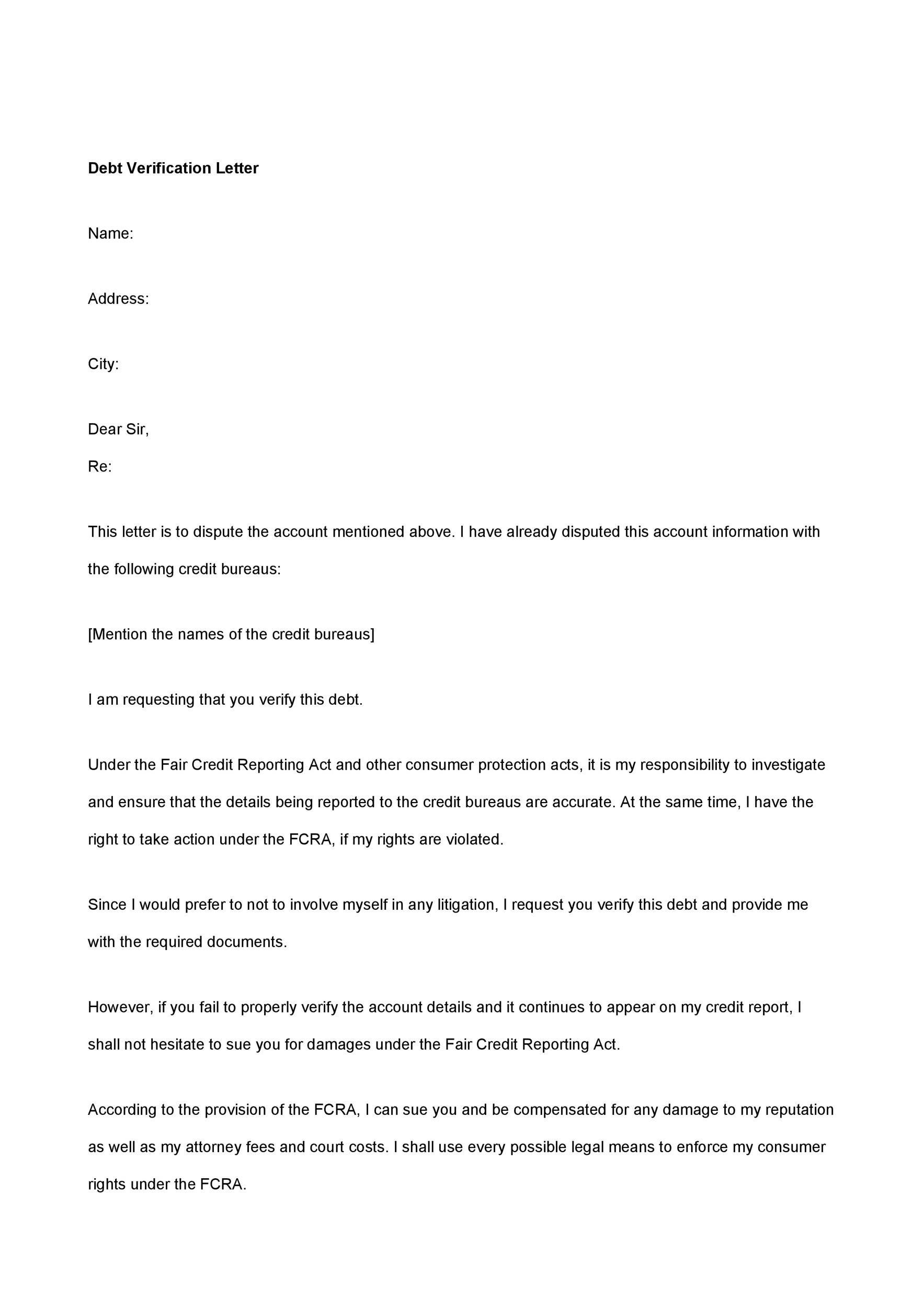 Free debt validation letter 19