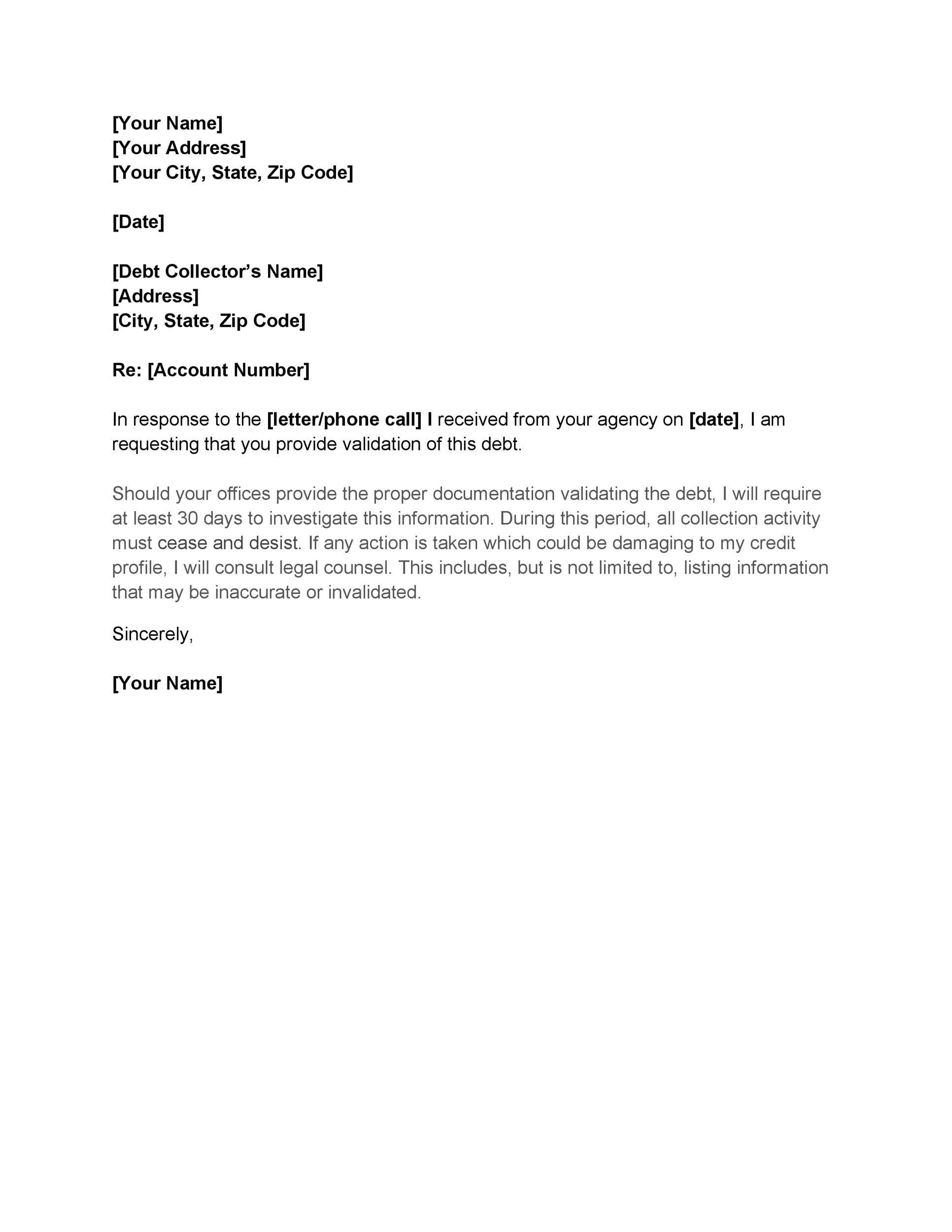 Free debt validation letter 21