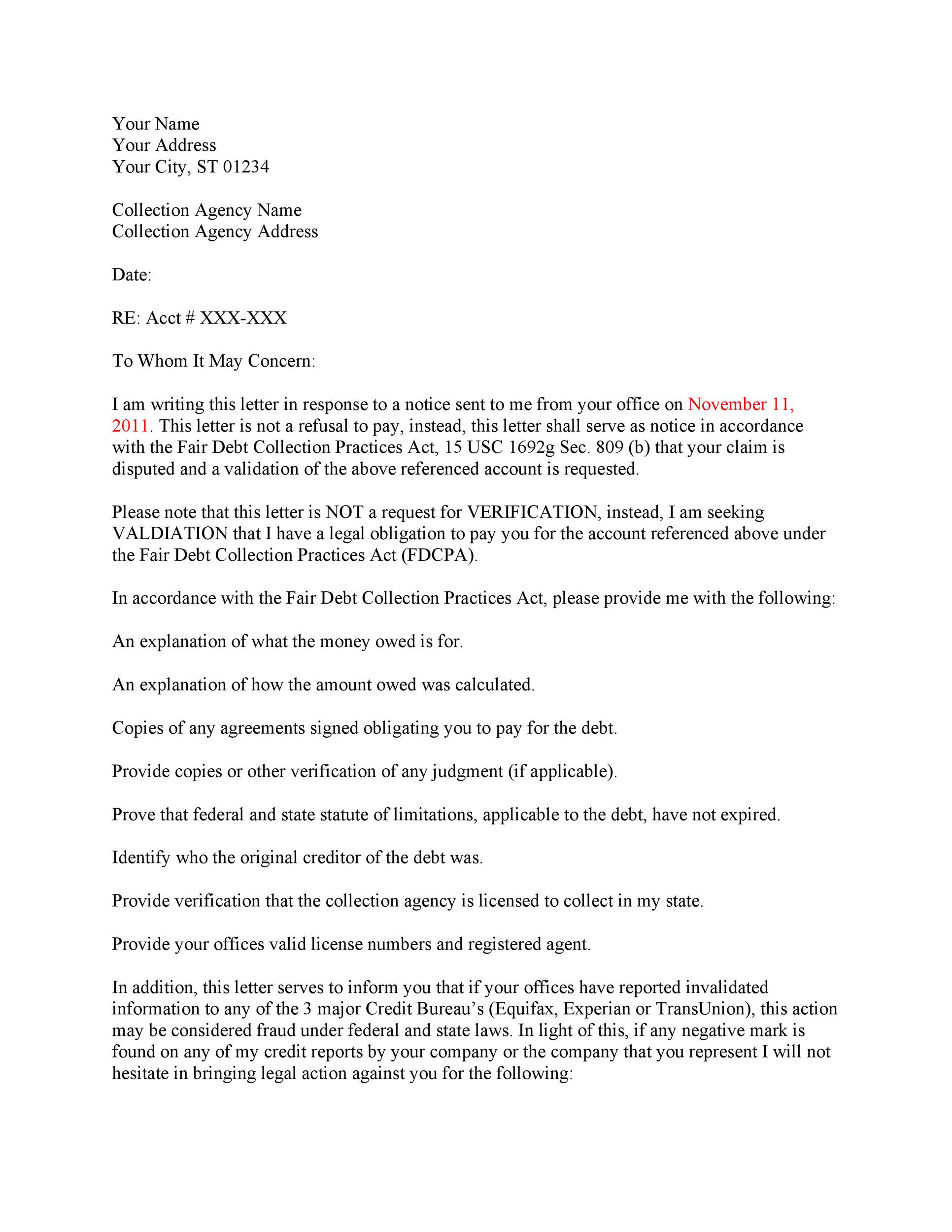 Free debt validation letter 22