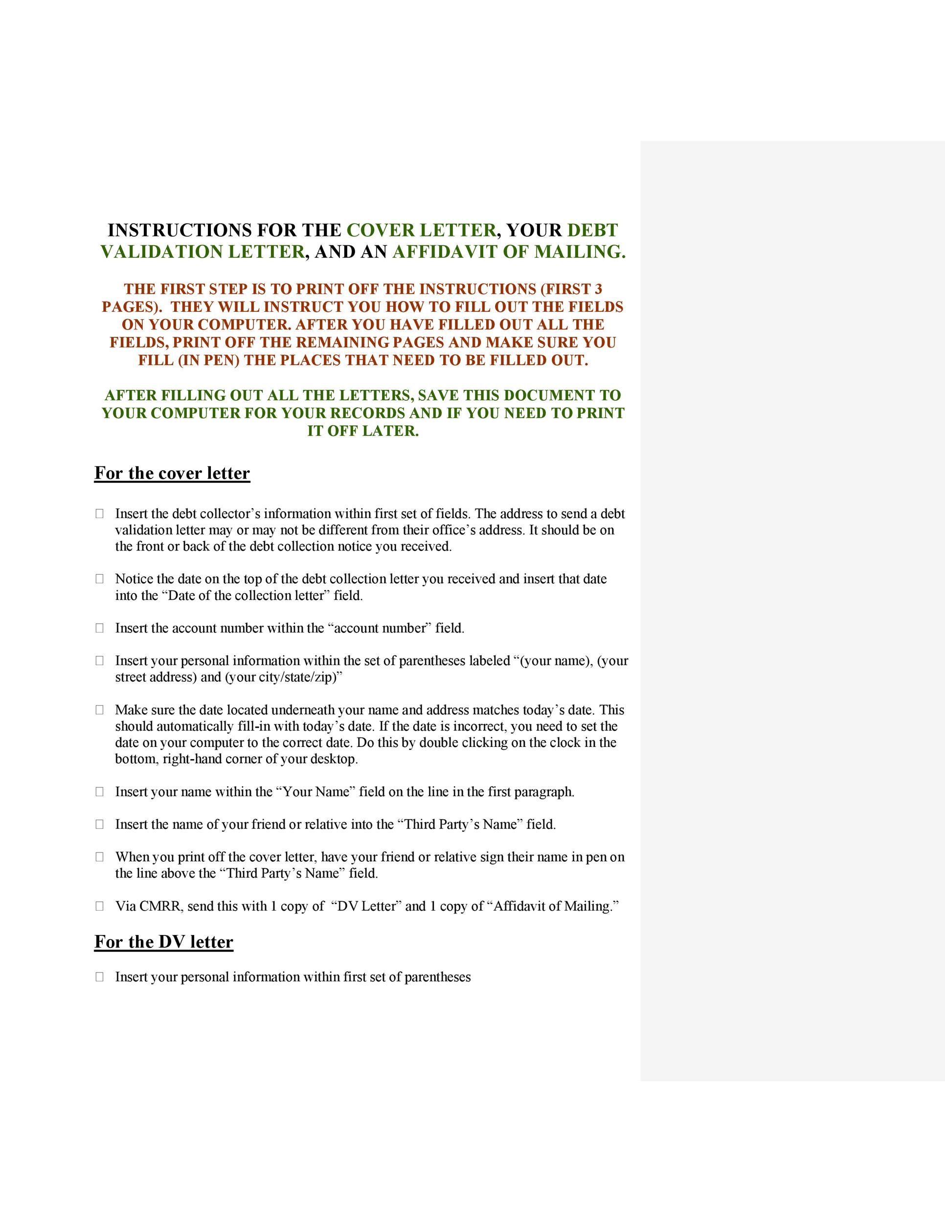 Free debt validation letter 24
