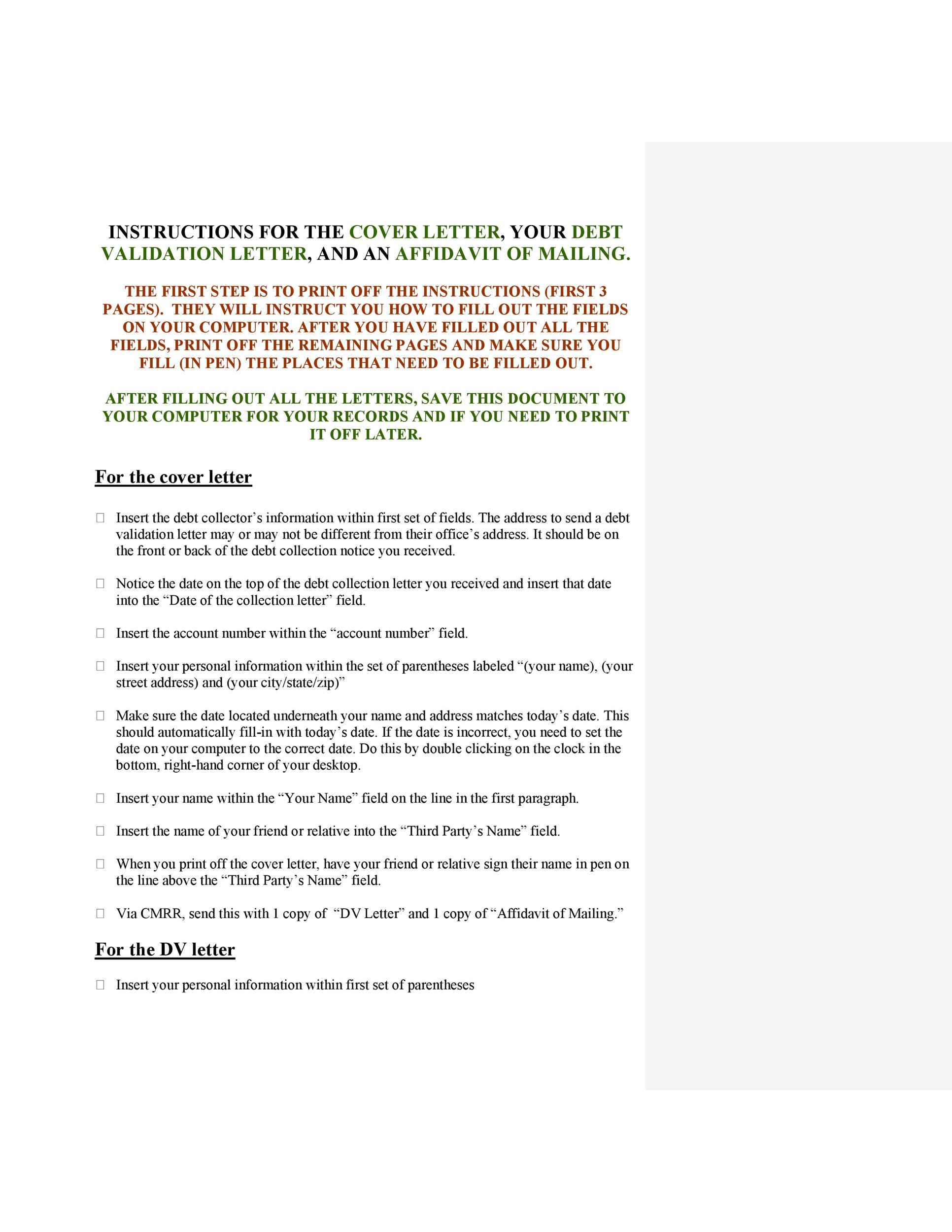 Free debt validation letter 24