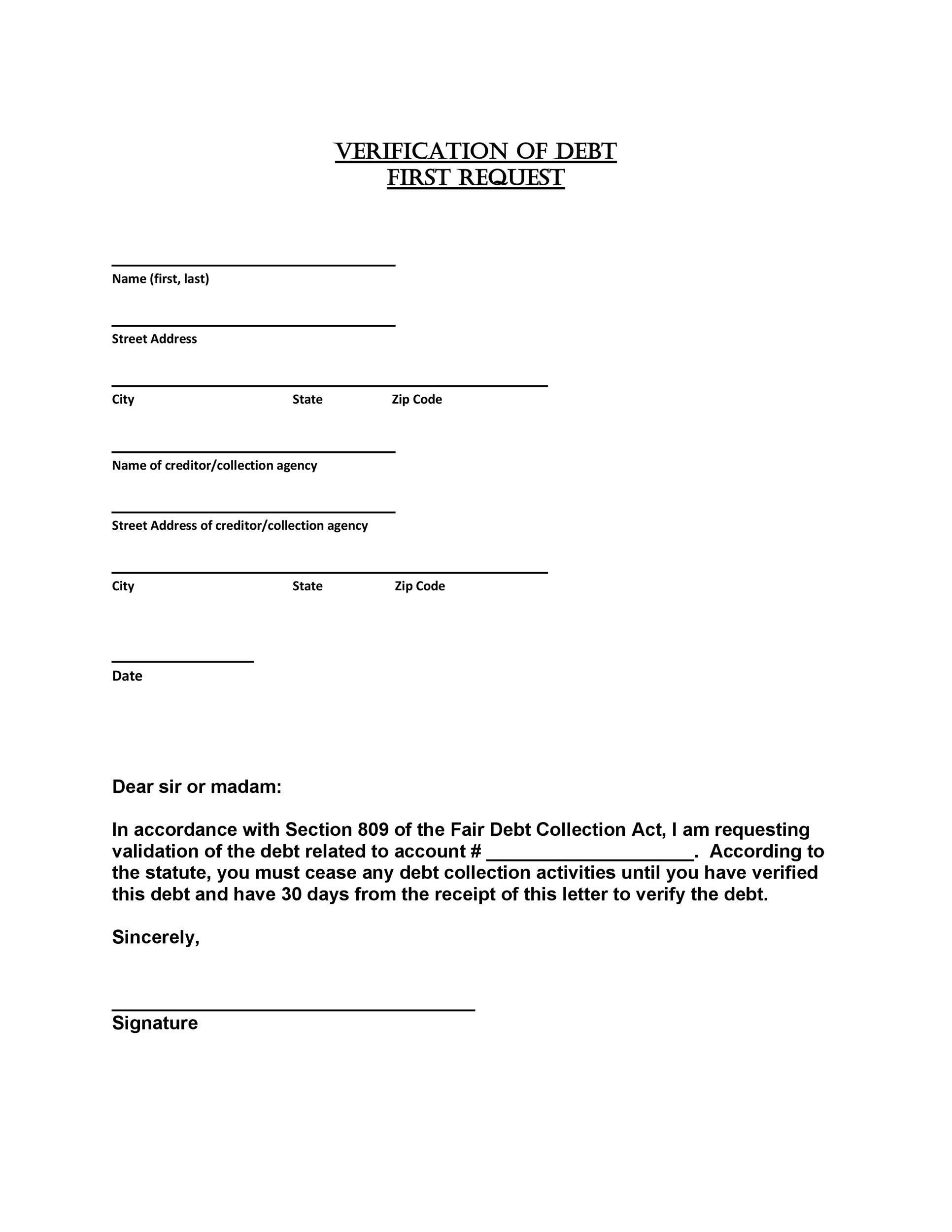 Free debt validation letter 28