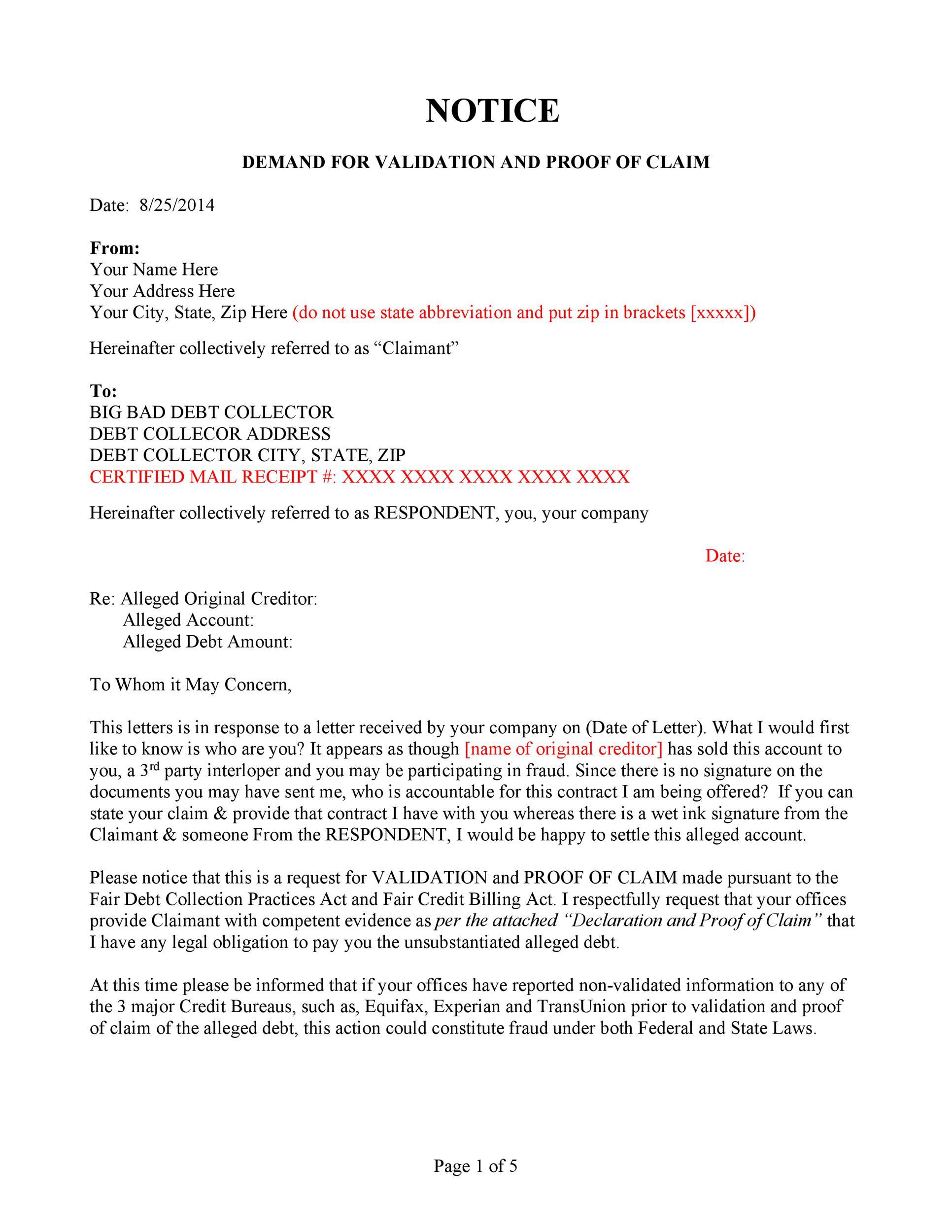 Free debt validation letter 29