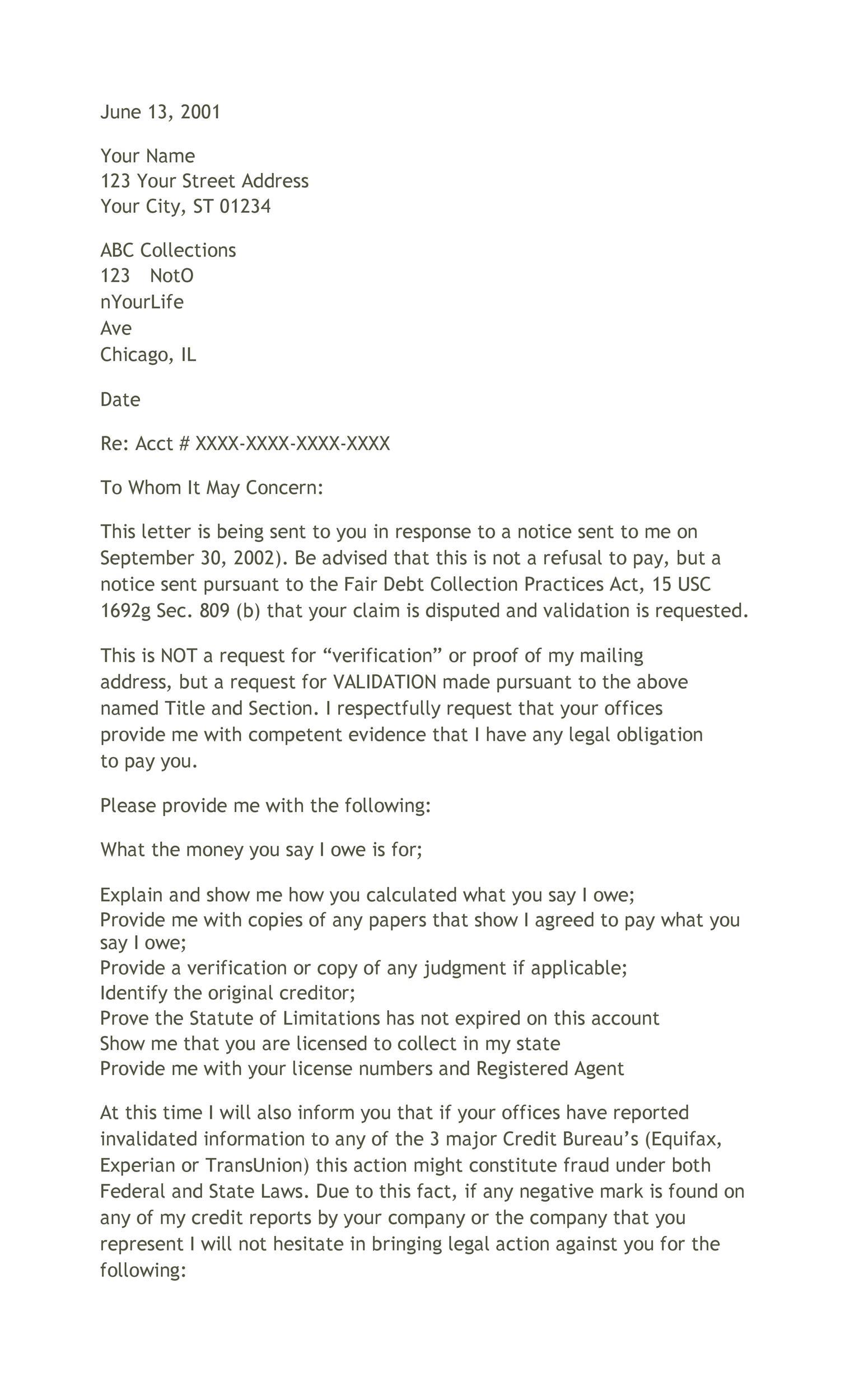 Free debt validation letter 31