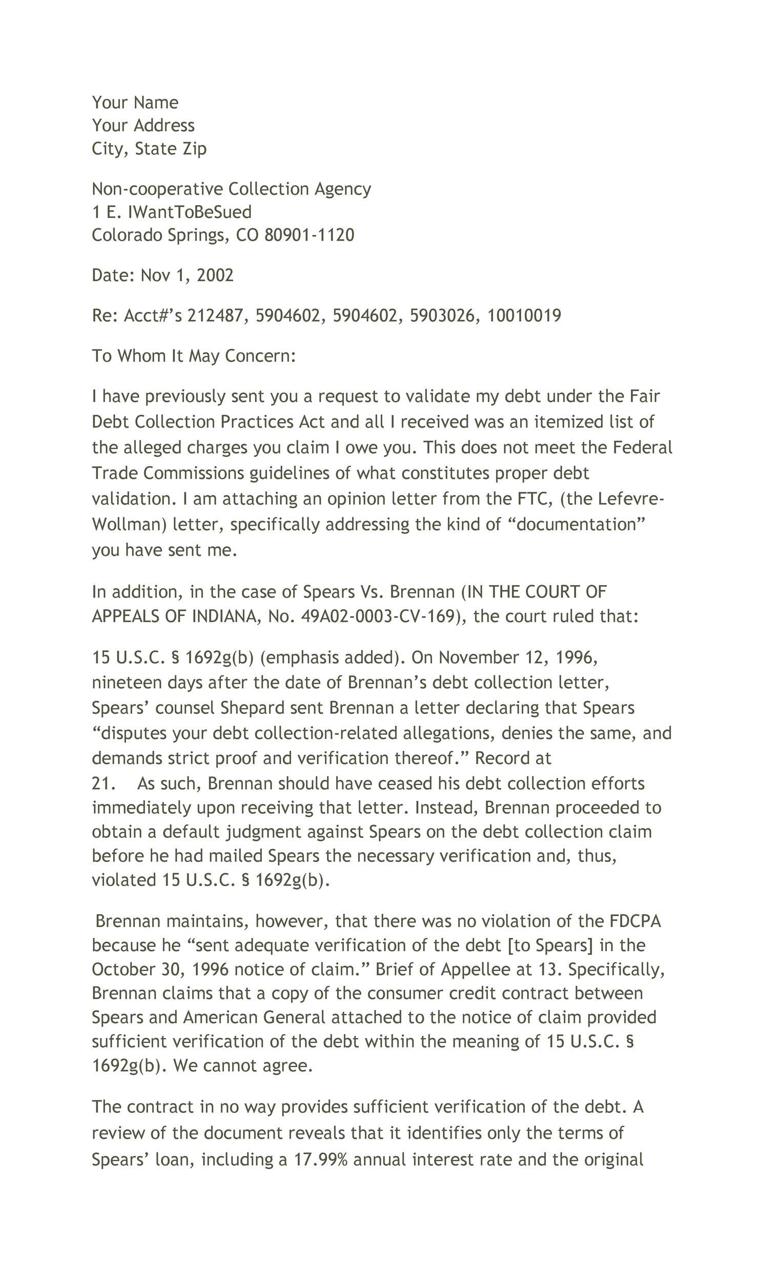Free debt validation letter 32
