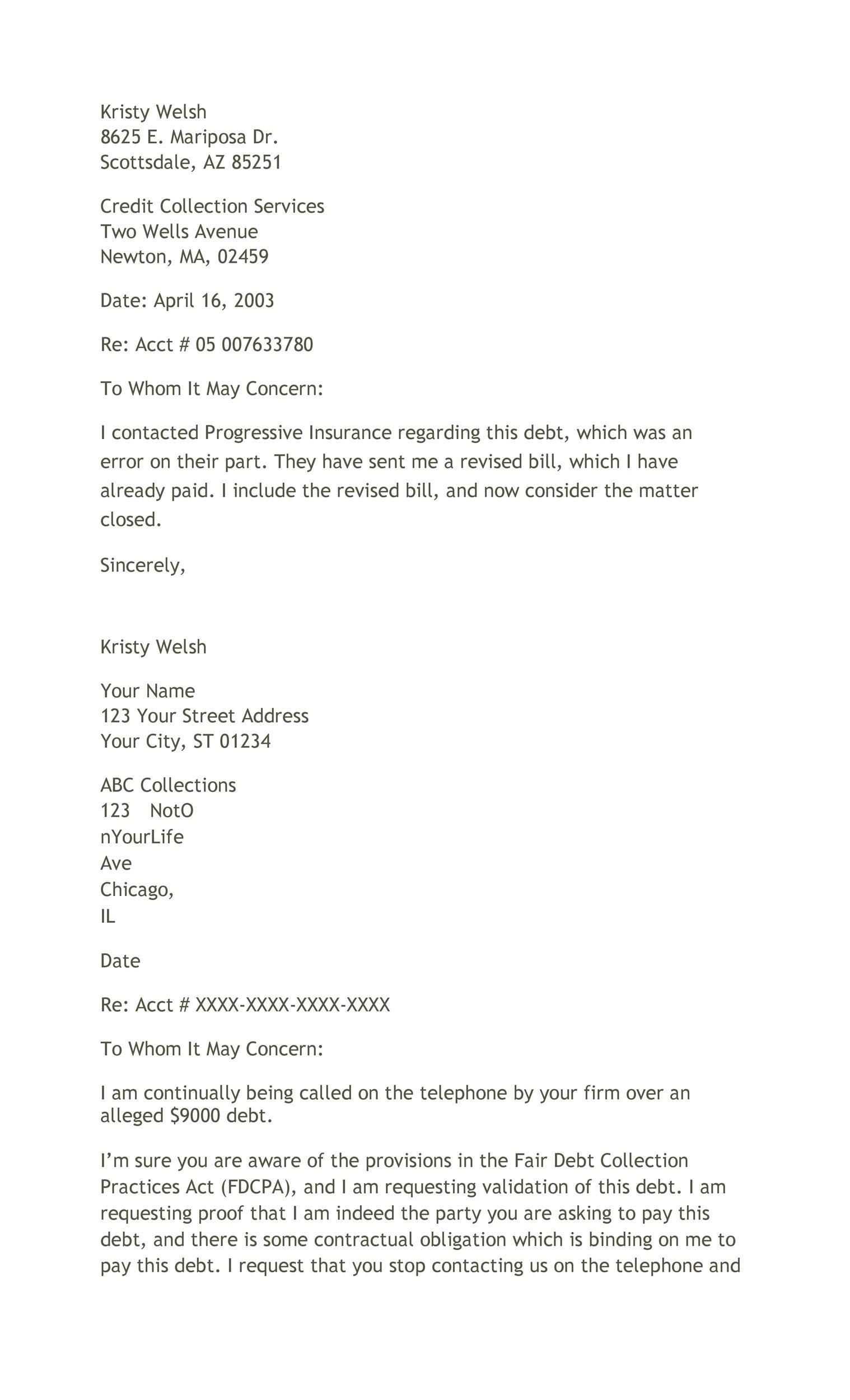 Free debt validation letter 35