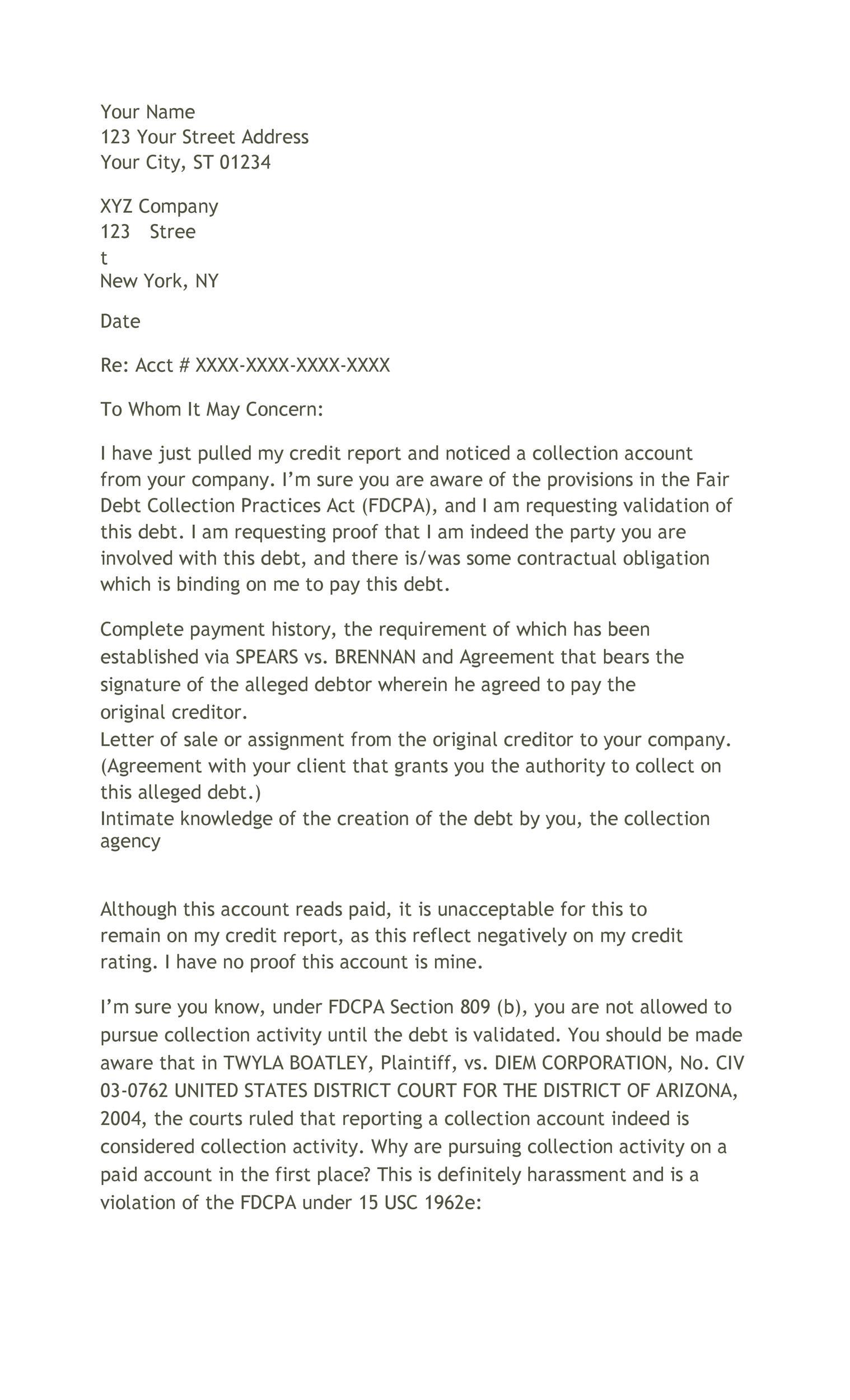 Free debt validation letter 36