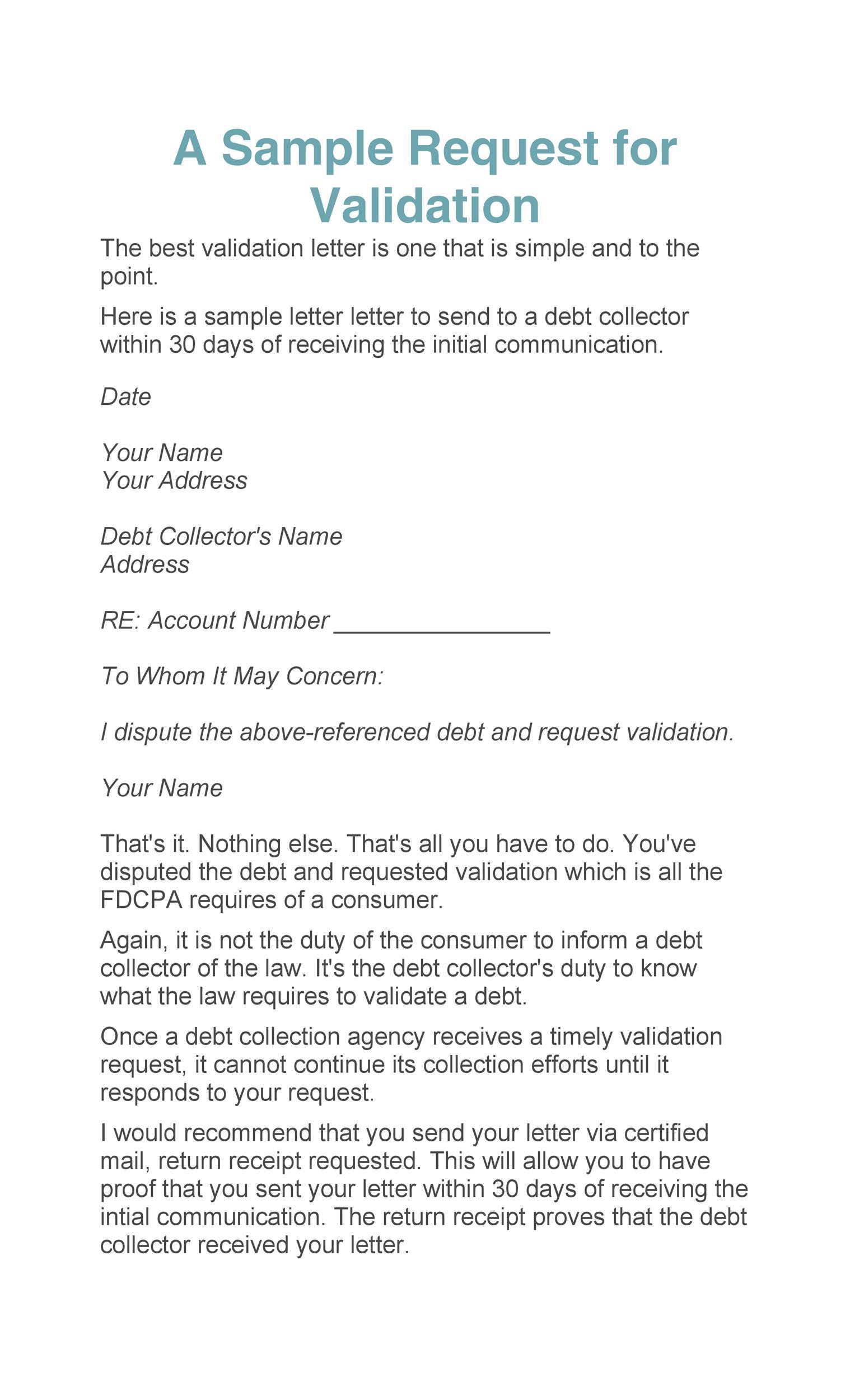 Free debt validation letter 40