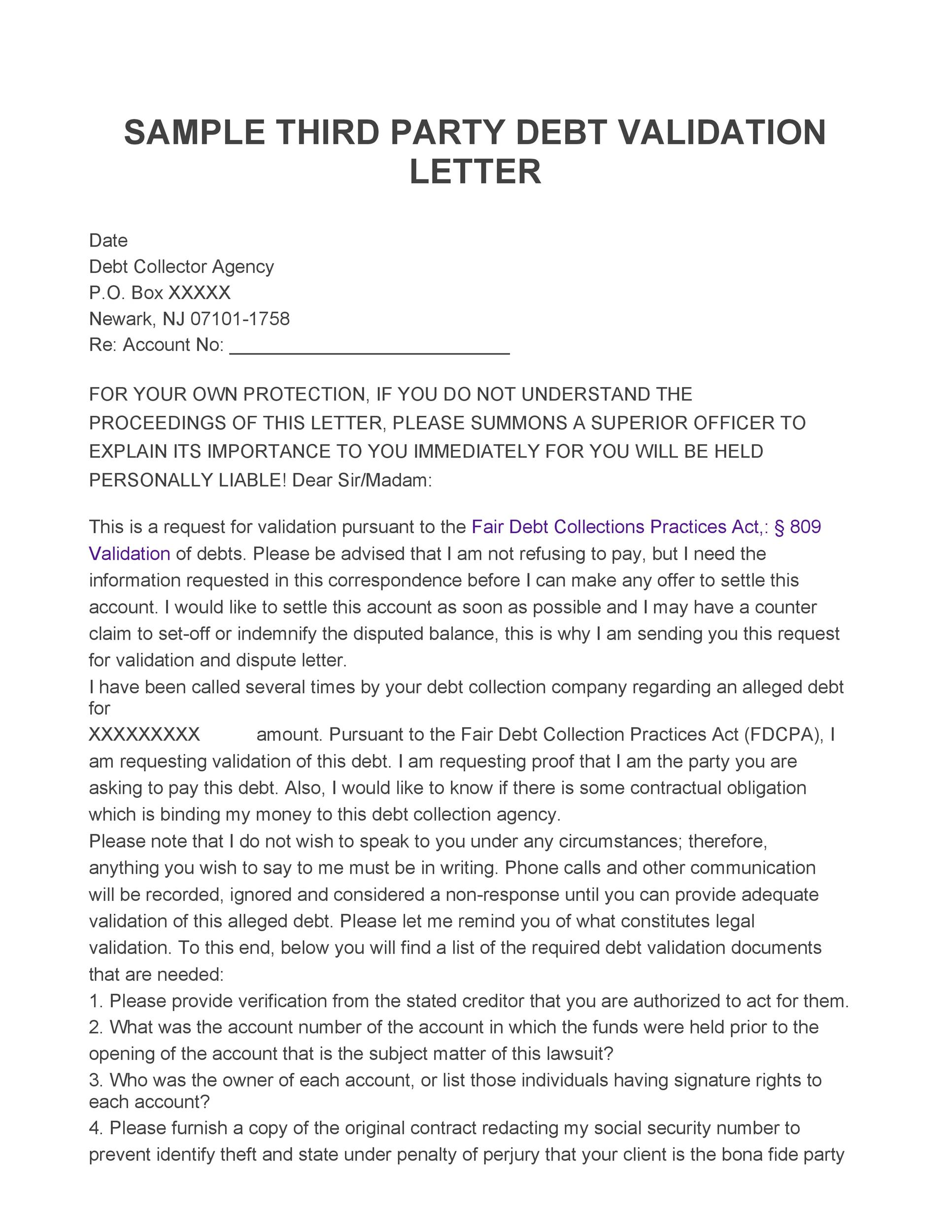 Free debt validation letter 43