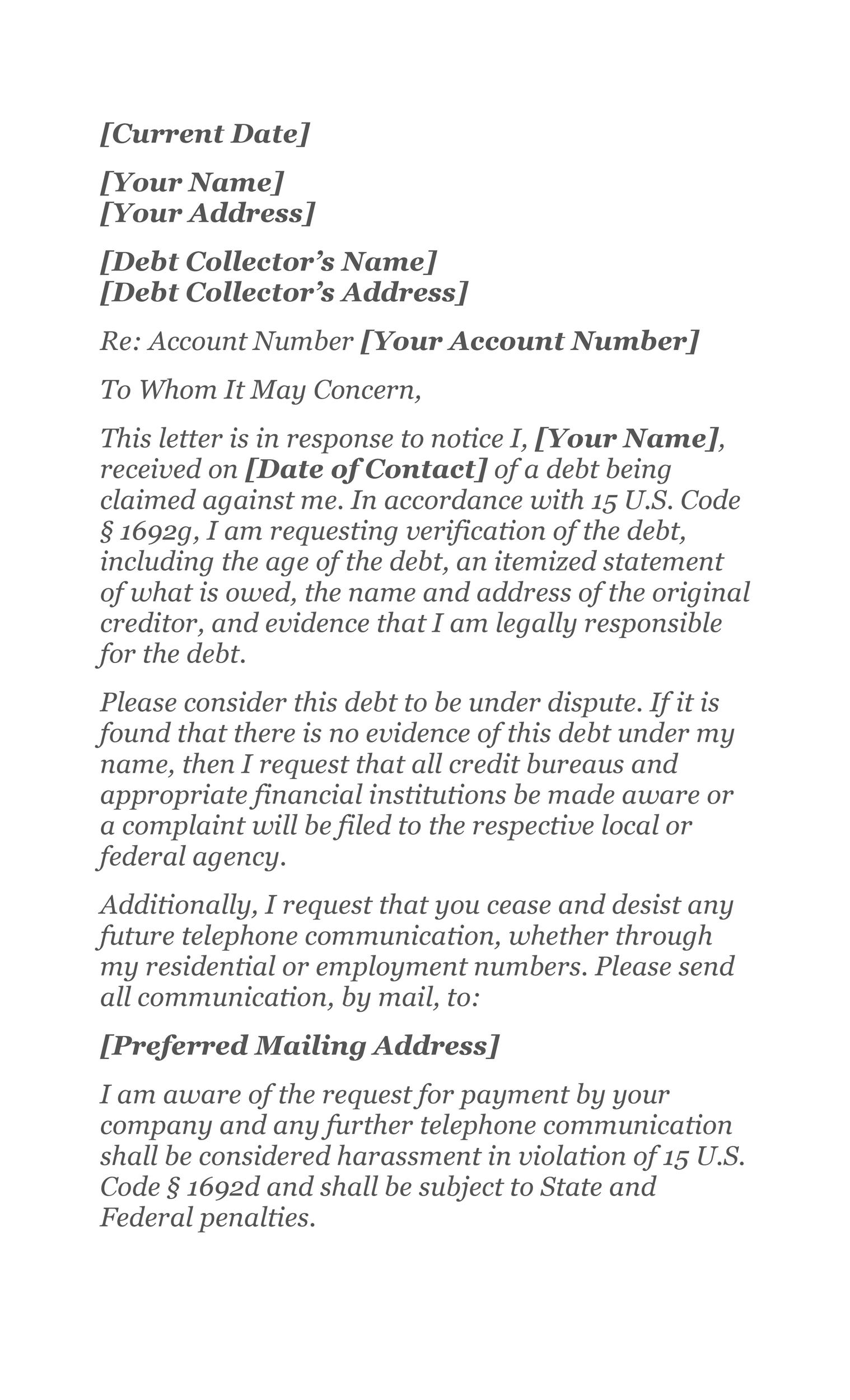 Free debt validation letter 47