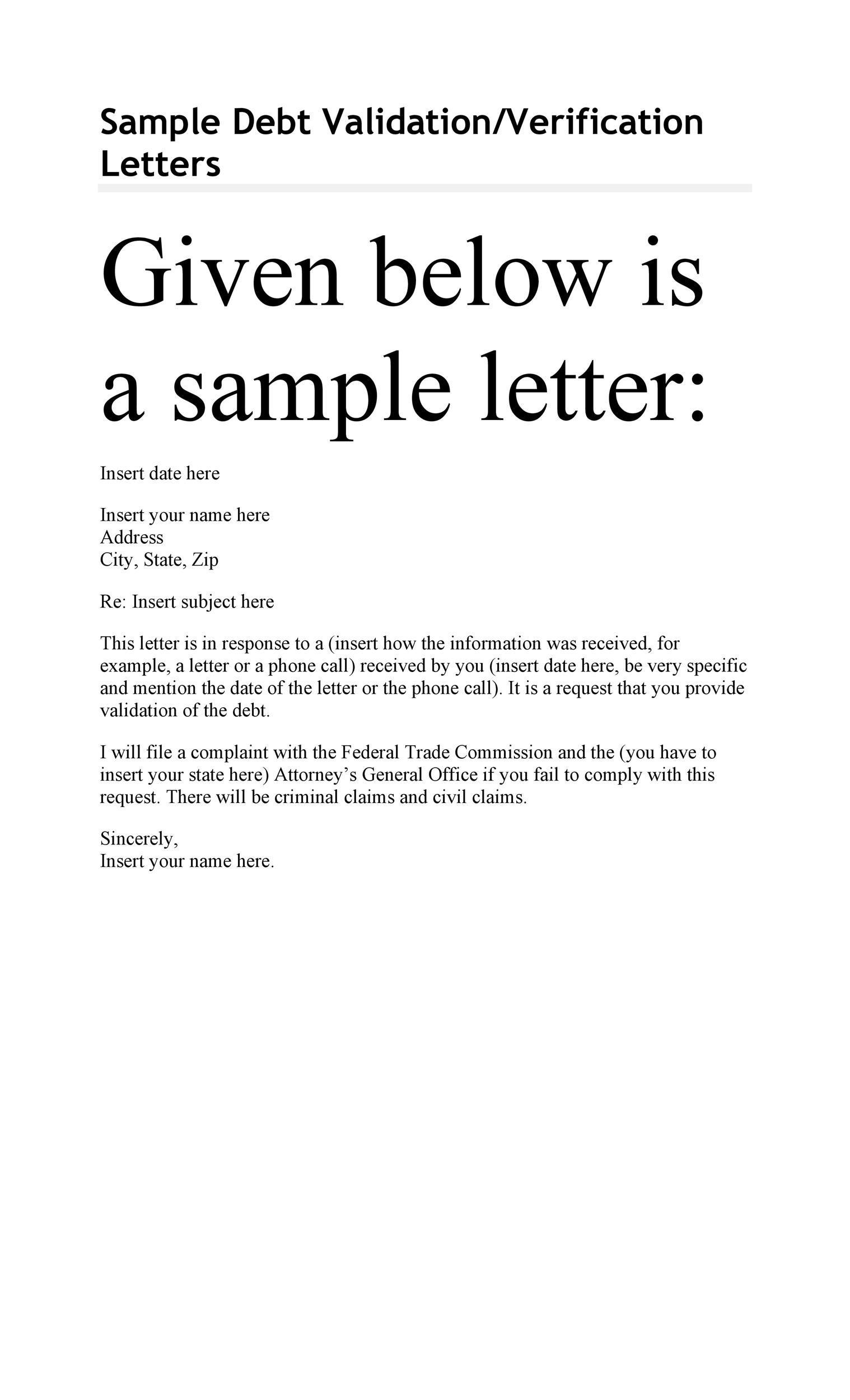 Free debt validation letter 48