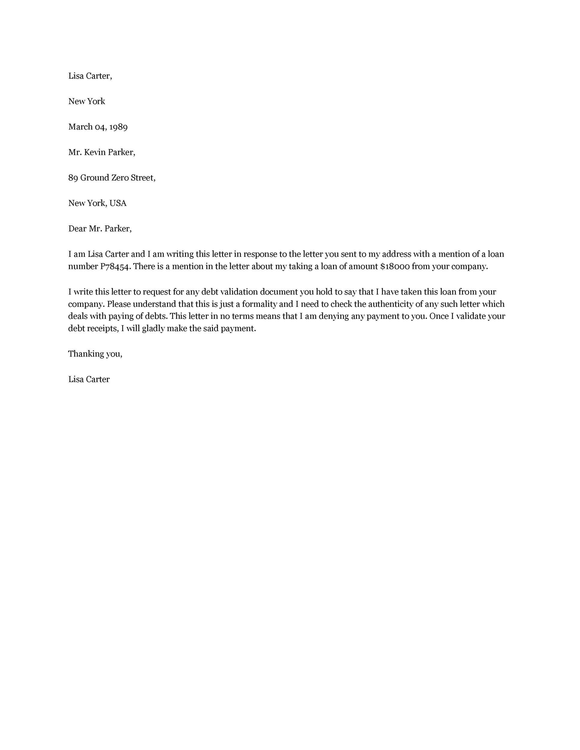 Free debt validation letter 50