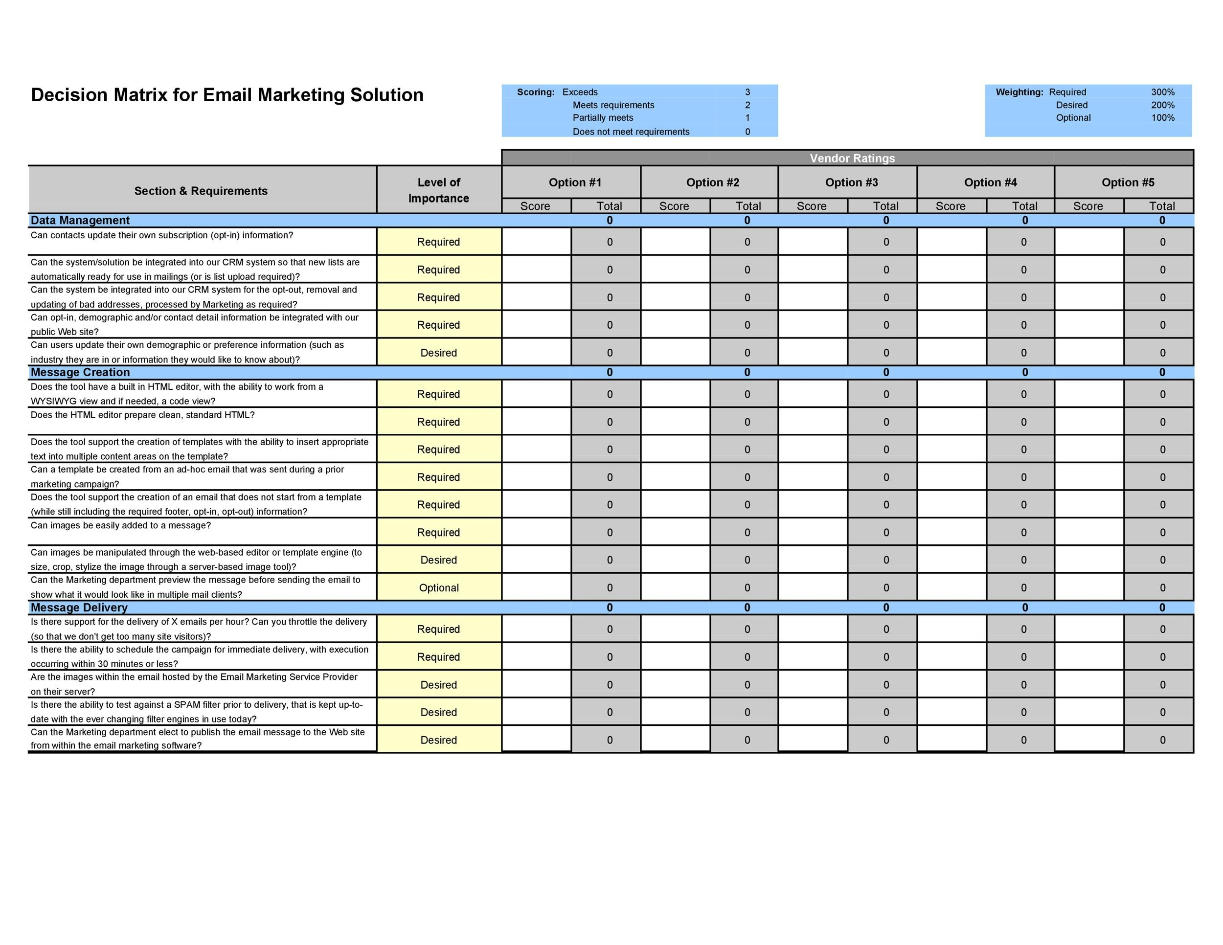 49 Best Decision Matrix Templates  Word  U0026 Excel   U1405