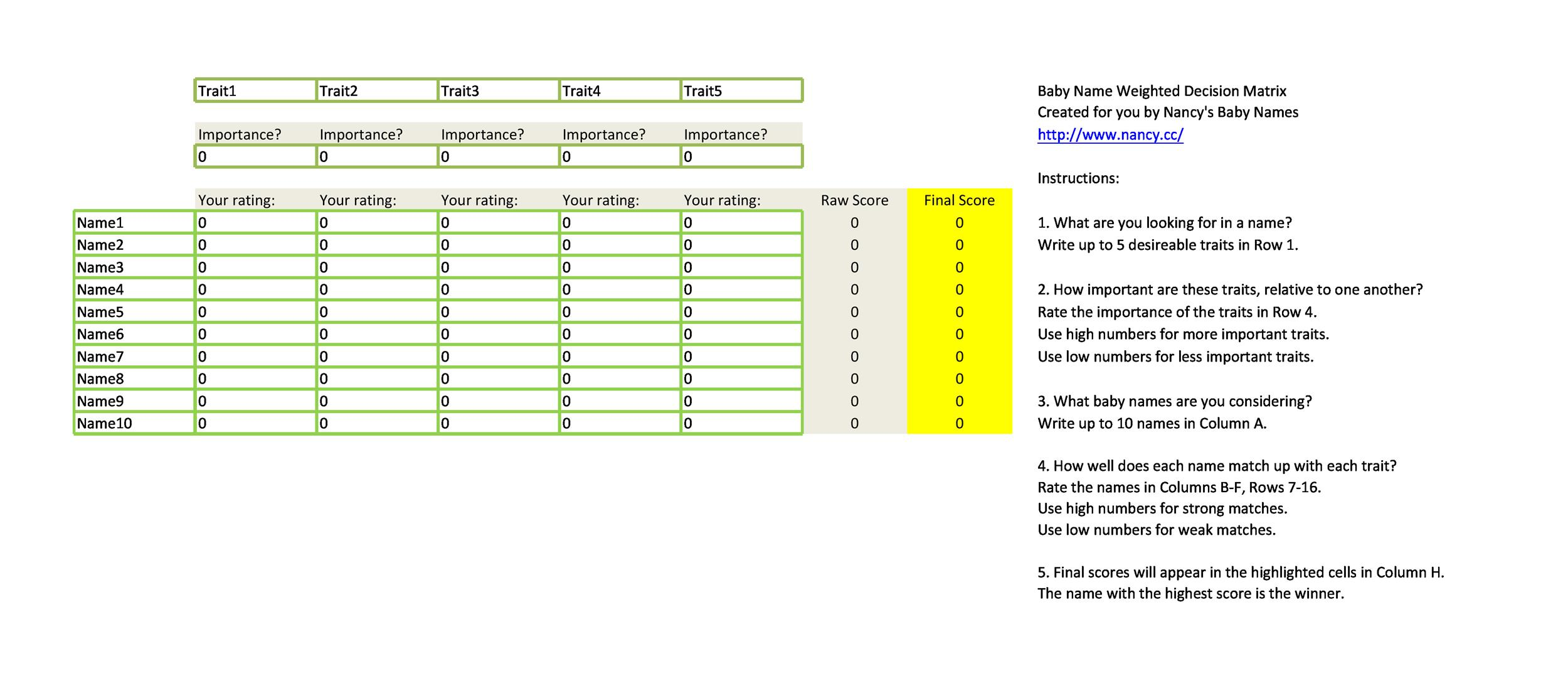 Free decision matrix template 06